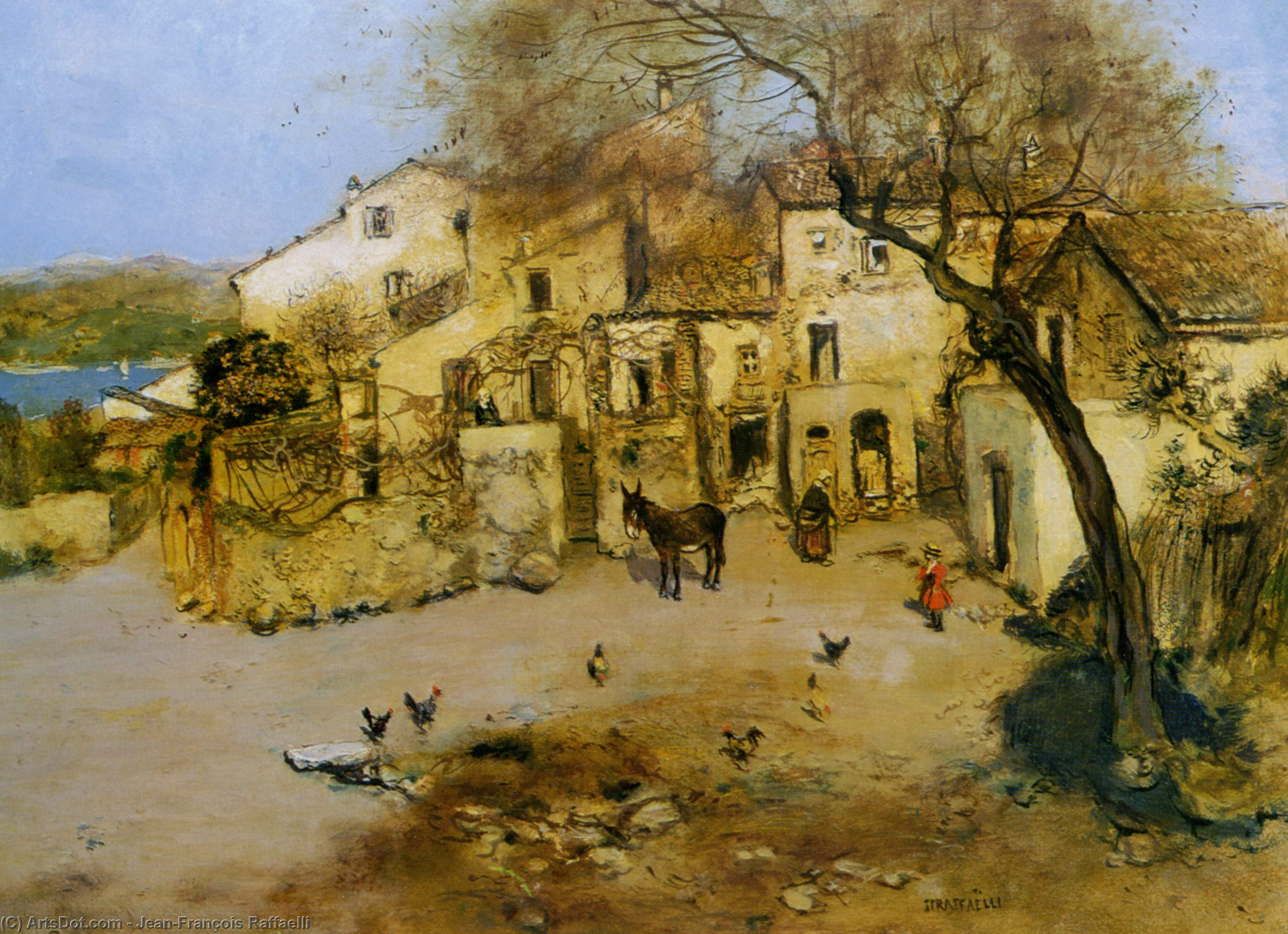 Order Art Reproduction : A Mediterranean Courtyard by Jean-François Raffaelli (1850-1924, France) | ArtsDot.com
