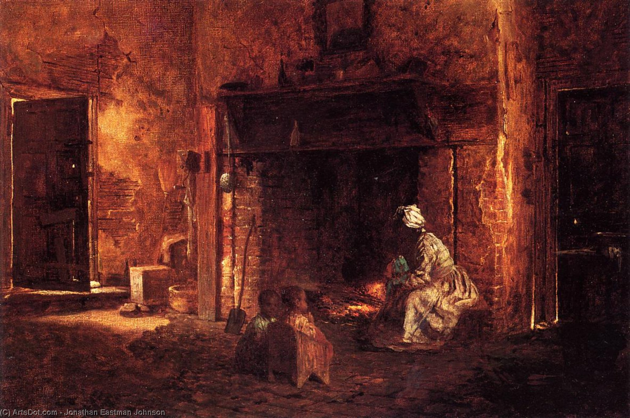 Kitchen at Mount Vernon by Jonathan Eastman Johnson (1824-1906, United Kingdom) | Painting Copy | ArtsDot.com