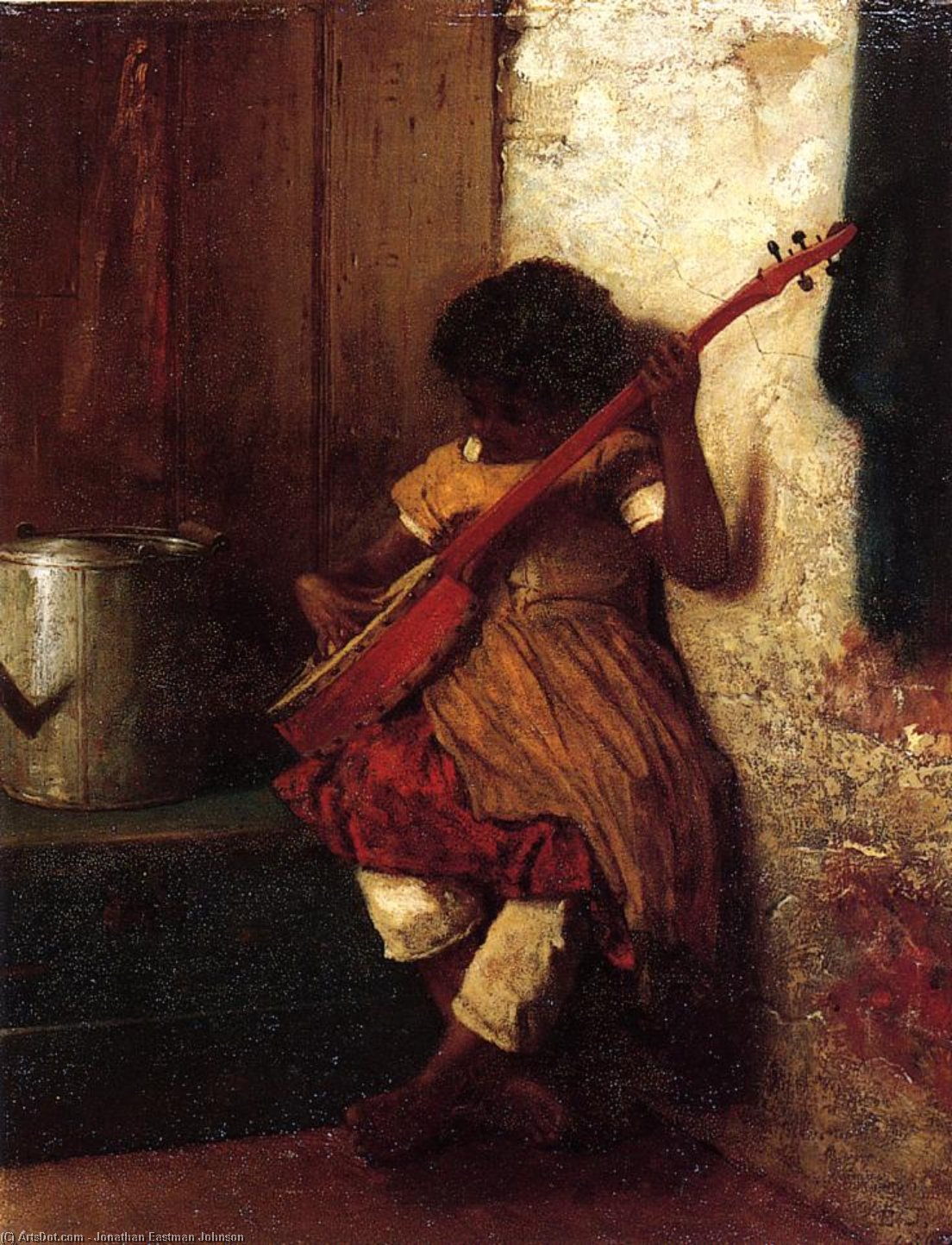 Musical Instinct by Jonathan Eastman Johnson (1824-1906, United Kingdom) | Museum Art Reproductions | ArtsDot.com