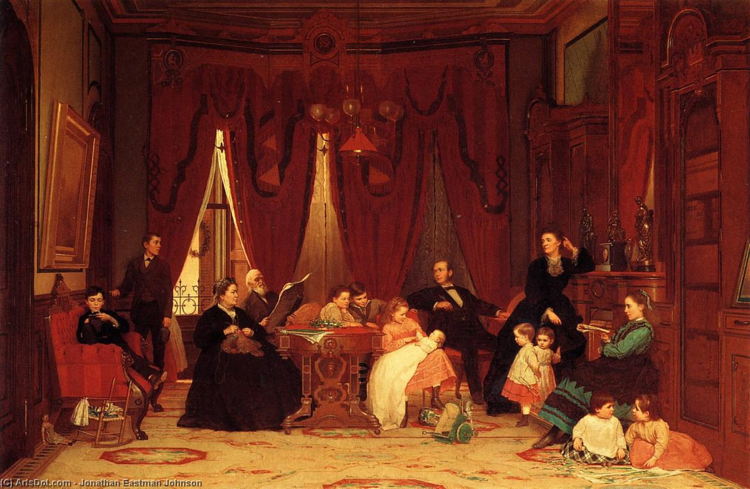 The Hatch Family by Jonathan Eastman Johnson (1824-1906, United Kingdom) | Museum Art Reproductions | ArtsDot.com