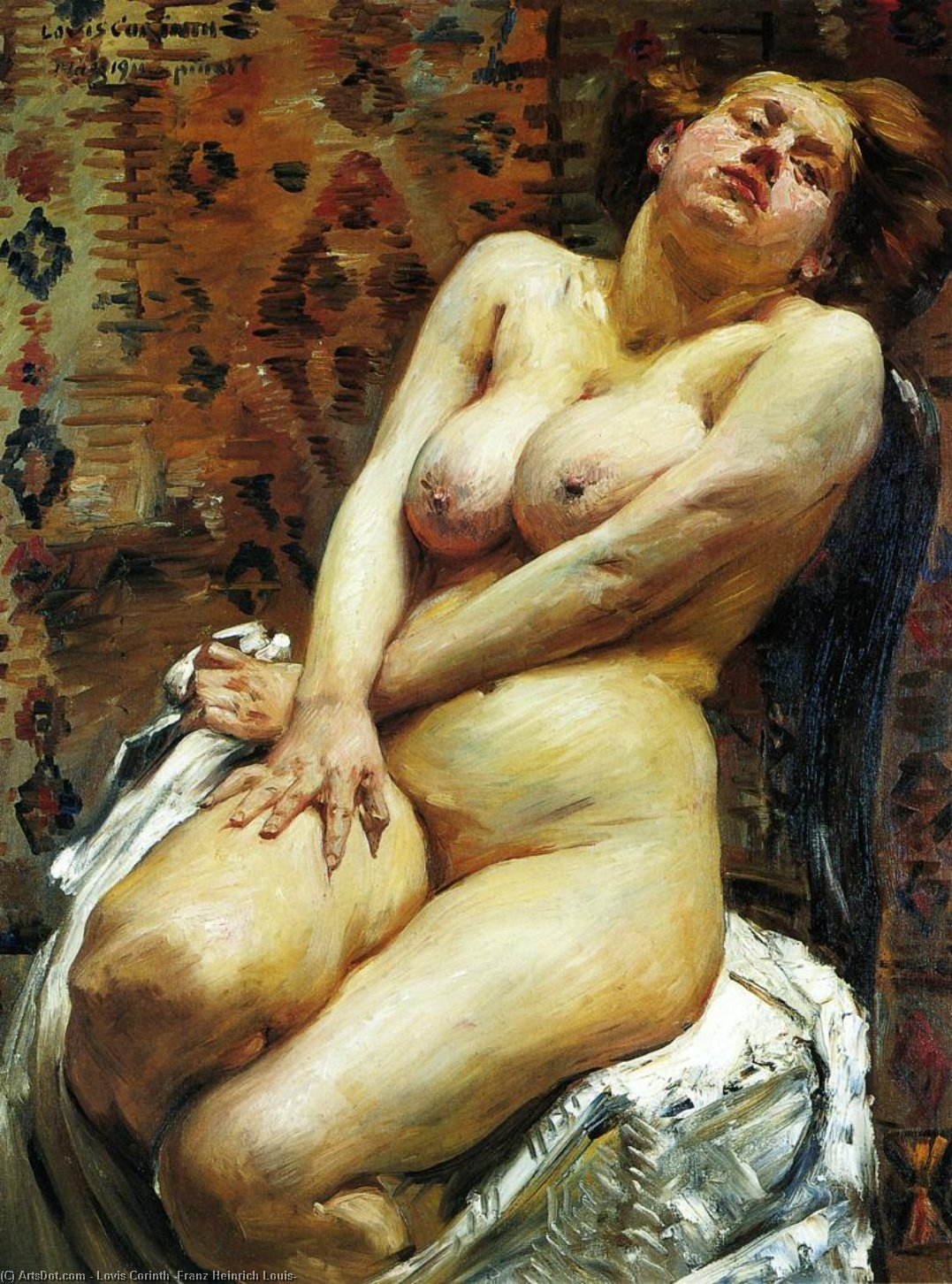 Nana, Female Nude, Oil On Canvas by Lovis Corinth (Franz Heinrich Louis) (1858-1925, Netherlands)