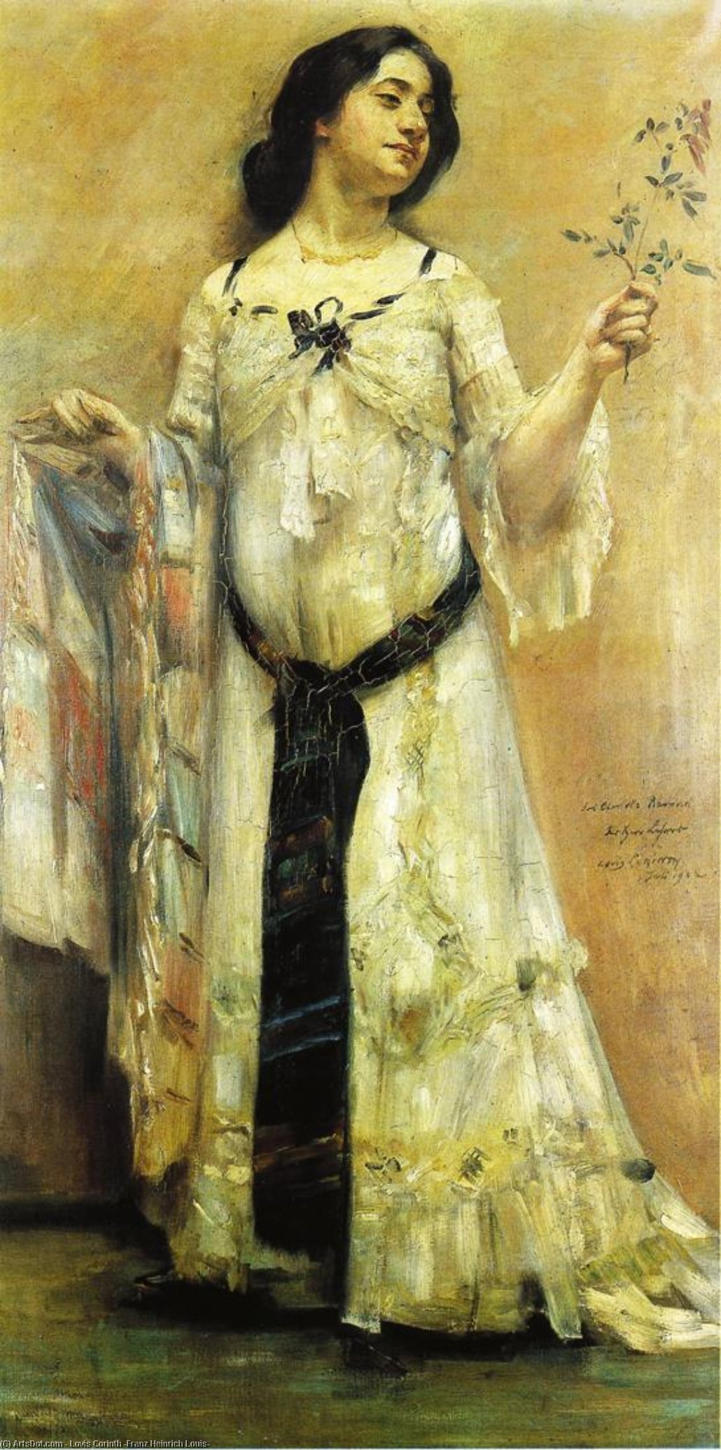 Portrait of Charlotte Berend in a White Dress, Oil On Canvas by Lovis Corinth (Franz Heinrich Louis) (1858-1925, Netherlands)
