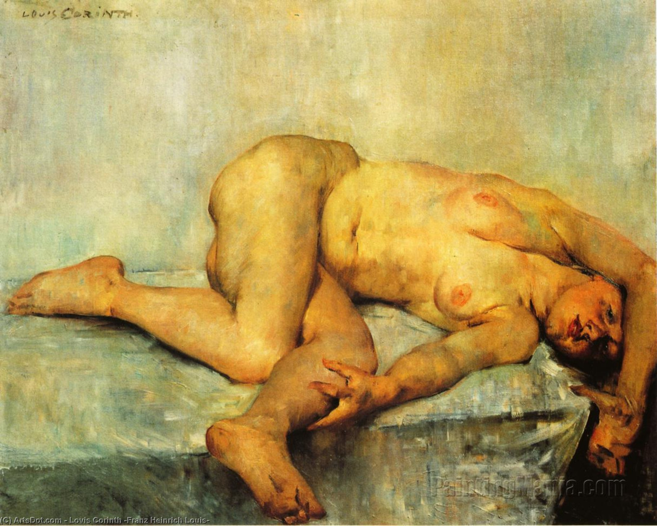 Reclining Female Nude, Oil On Canvas by Lovis Corinth (Franz Heinrich Louis) (1858-1925, Netherlands)