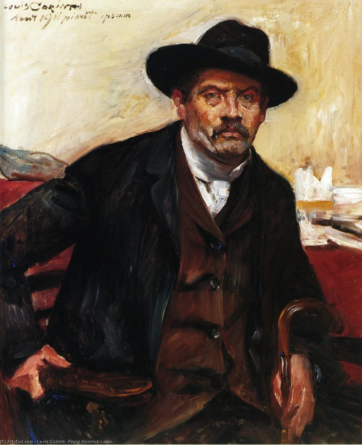 Self Portrait in a Black Hat, Oil On Canvas by Lovis Corinth (Franz Heinrich Louis) (1858-1925, Netherlands)