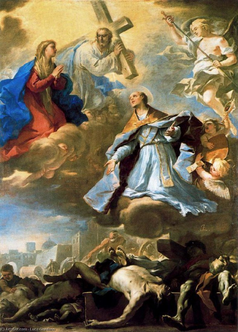 San Gennaro intercedes with the Virgin, Christ and God the Father of the plague of 1656 by Luca Giordano (1634-1705, Italy)