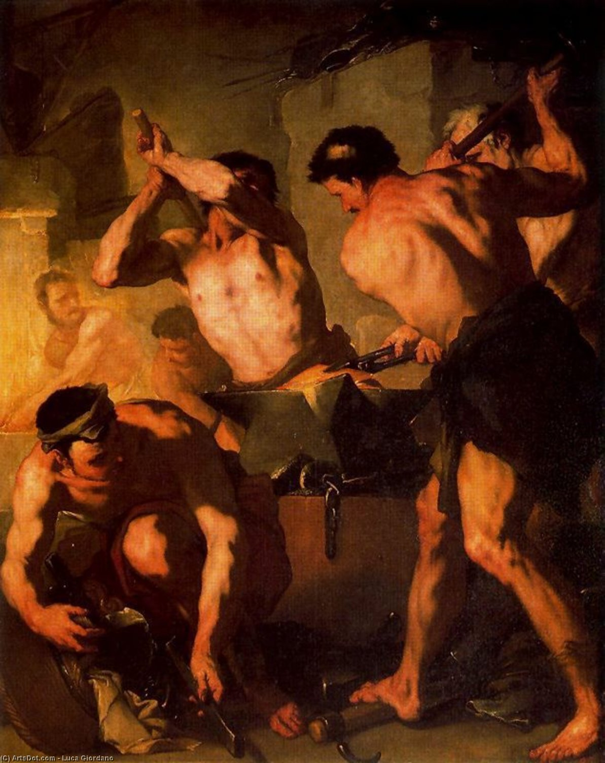The Forge of Vulcan 1 by Luca Giordano (1634-1705, Italy)