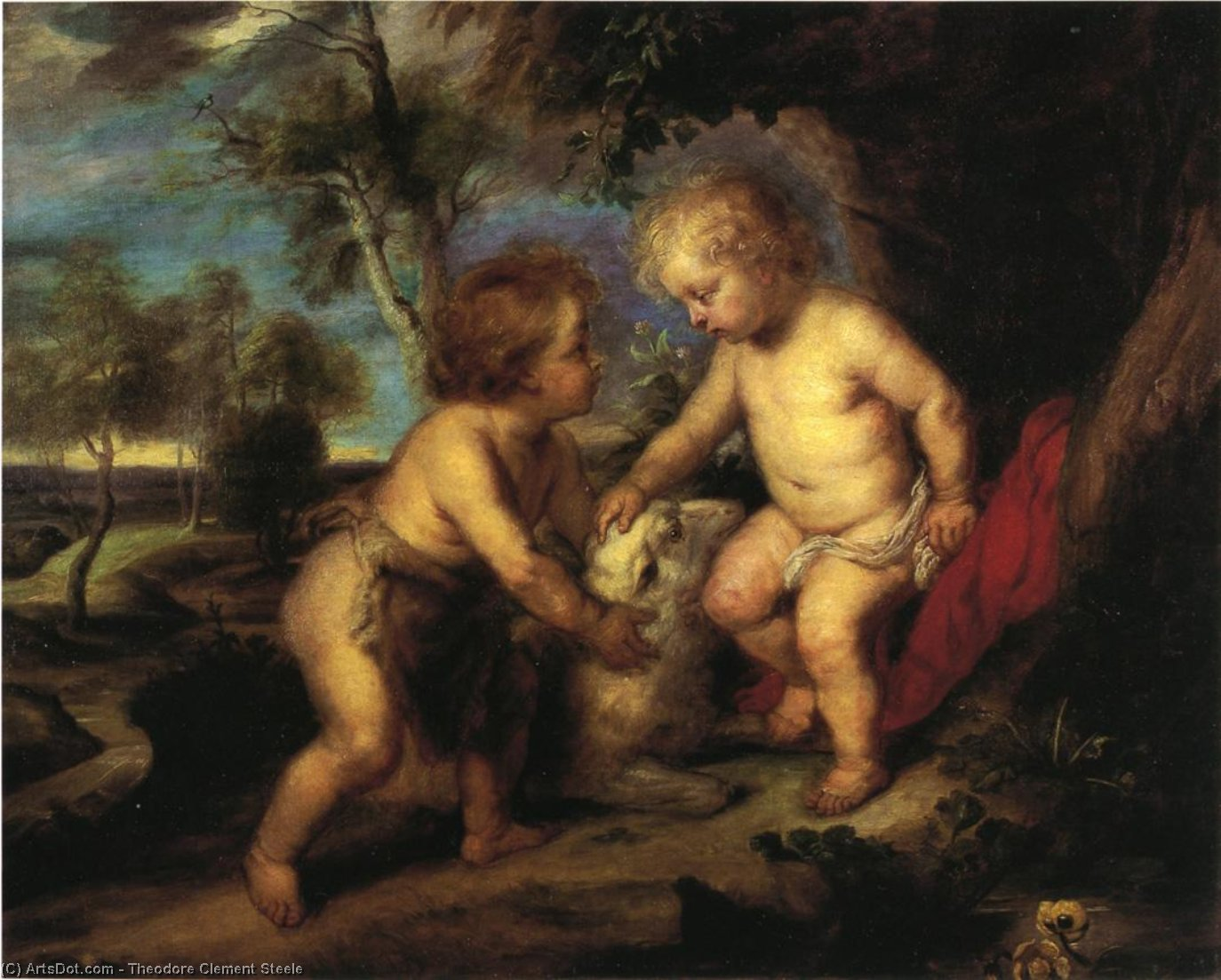 The Christ Child and the Infant St. John after Rubens, Oil On Canvas by Theodore Clement Steele (1847-1926, United States)