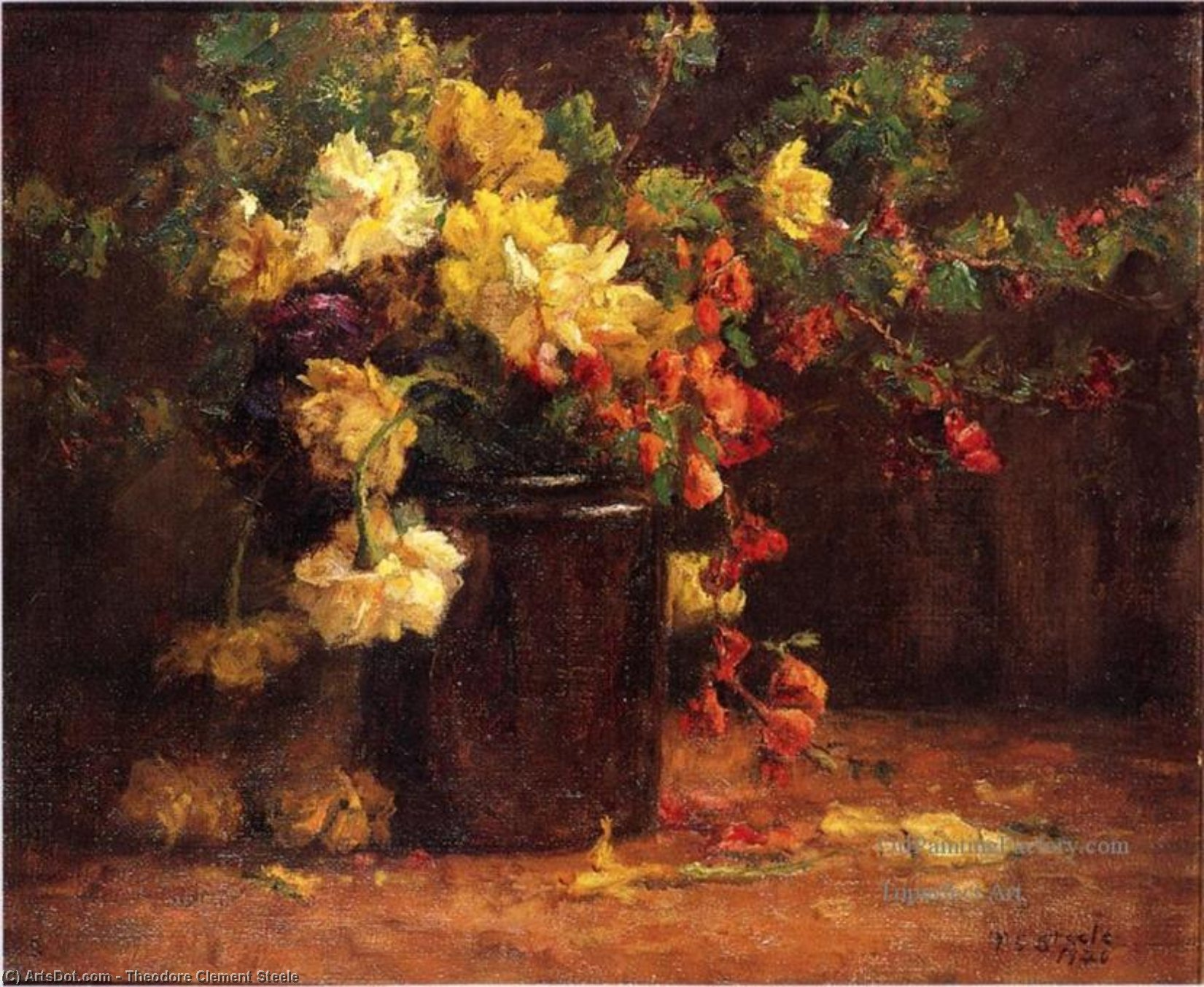 Vase of Flowers by Theodore Clement Steele (1847-1926, United States) | Museum Art Reproductions | ArtsDot.com