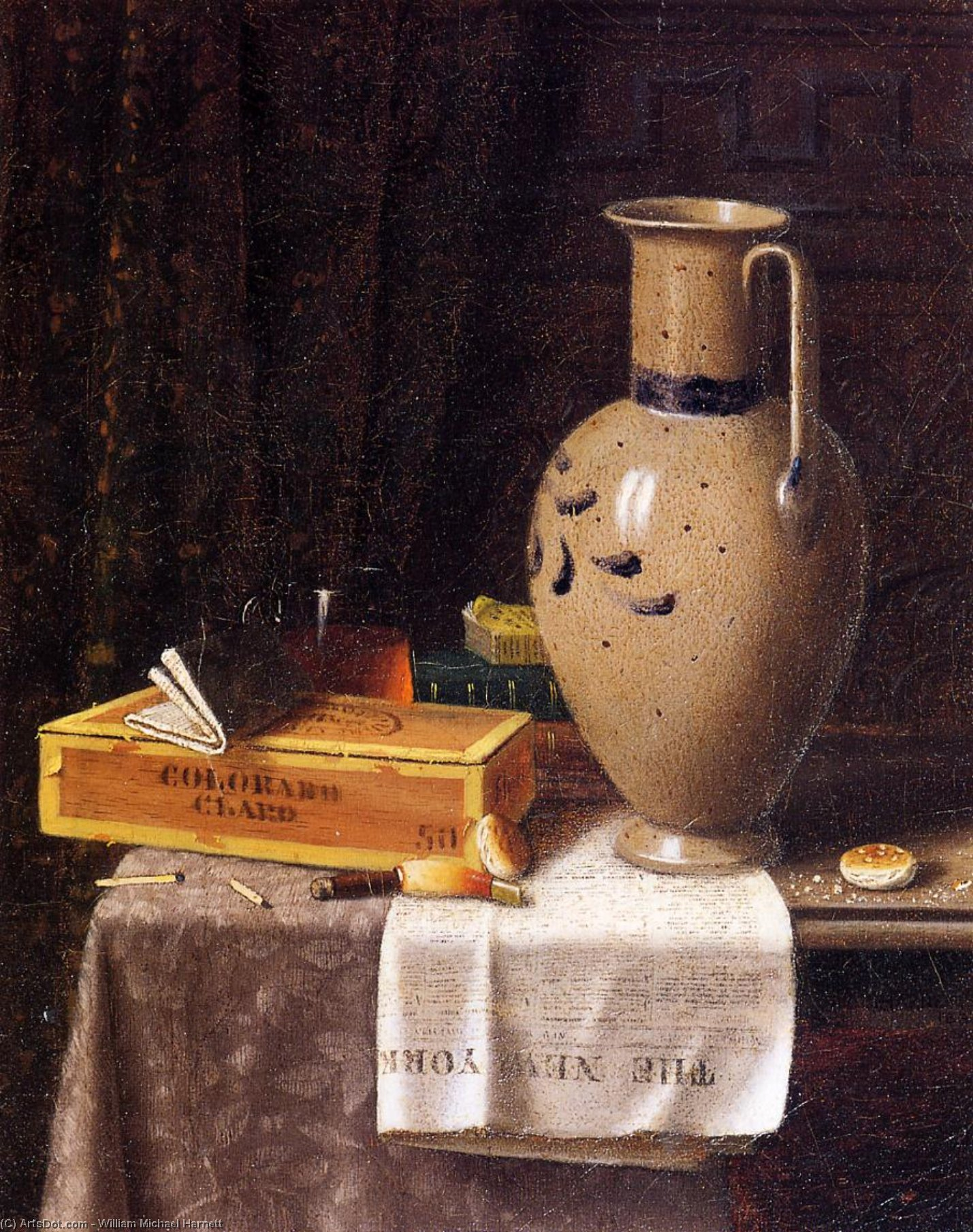 Cigar Box, Pitcher and 'New York World', 1880 by William Michael Harnett (1848-1892, Ireland) | ArtsDot.com
