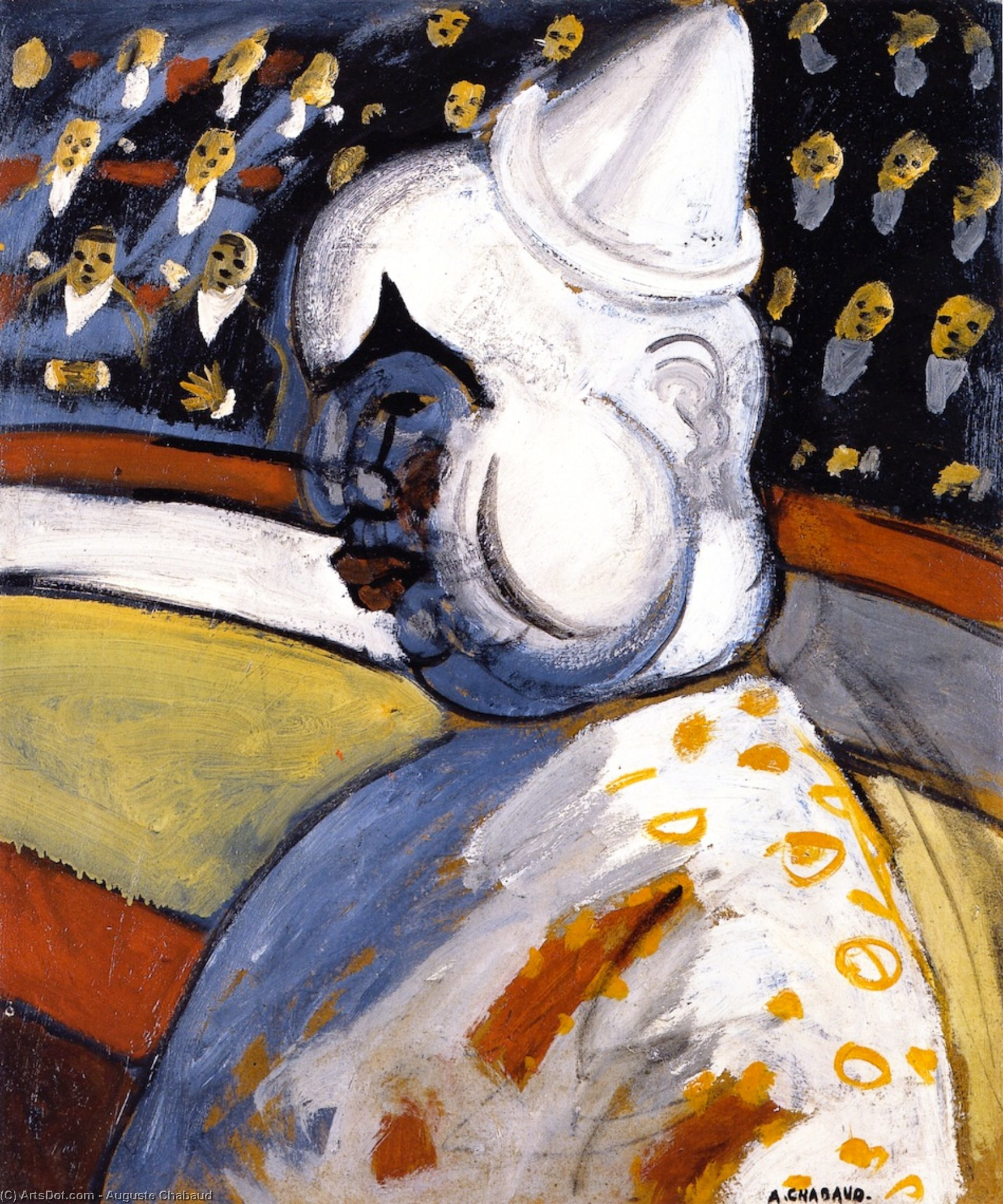 The Clown, Oil On Canvas by Auguste Chabaud (1882-1955, France)