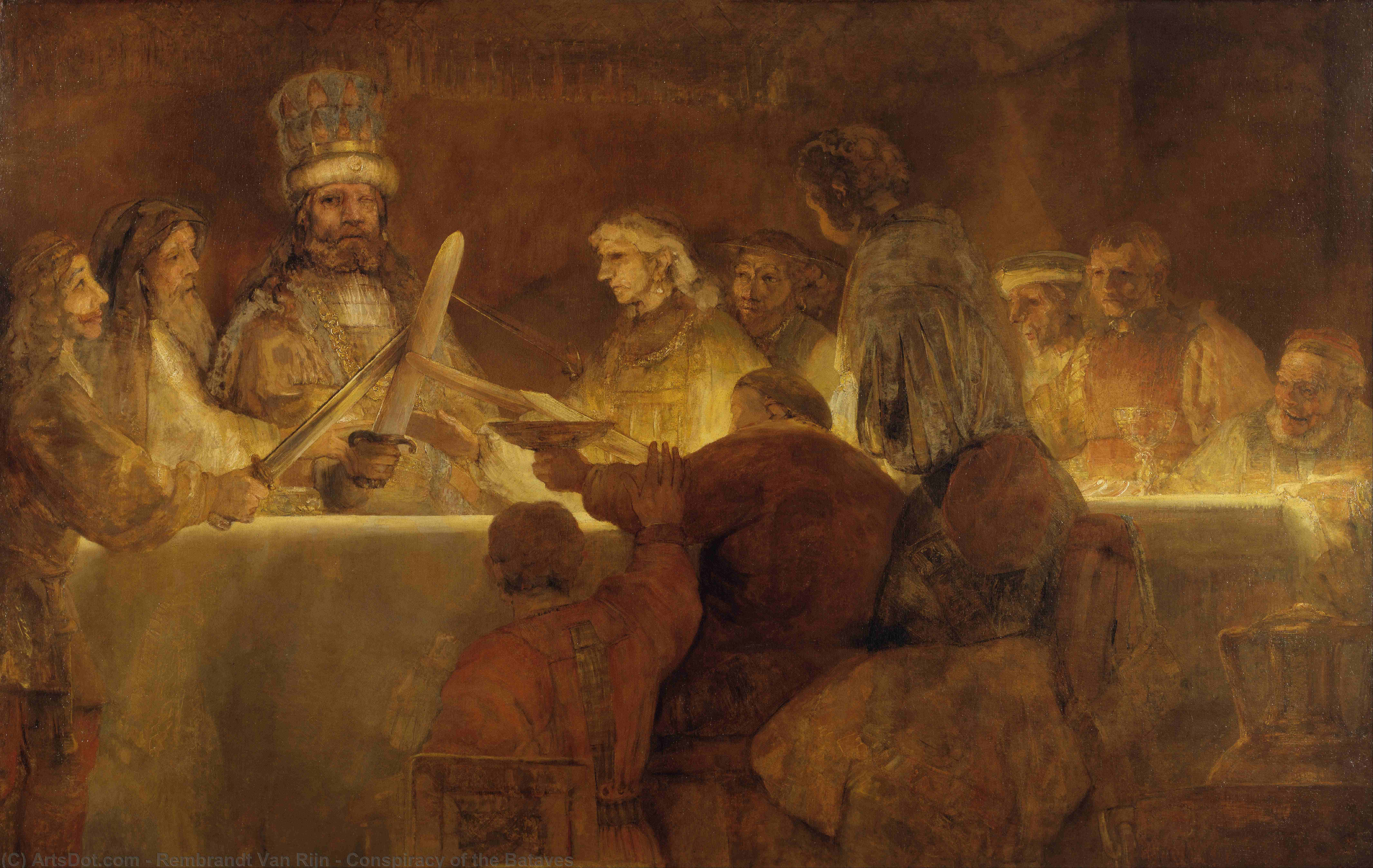 Order Museum Quality Copies | Conspiracy of the Bataves, 1661 by Rembrandt Van Rijn (1606-1669, Netherlands) | ArtsDot.com