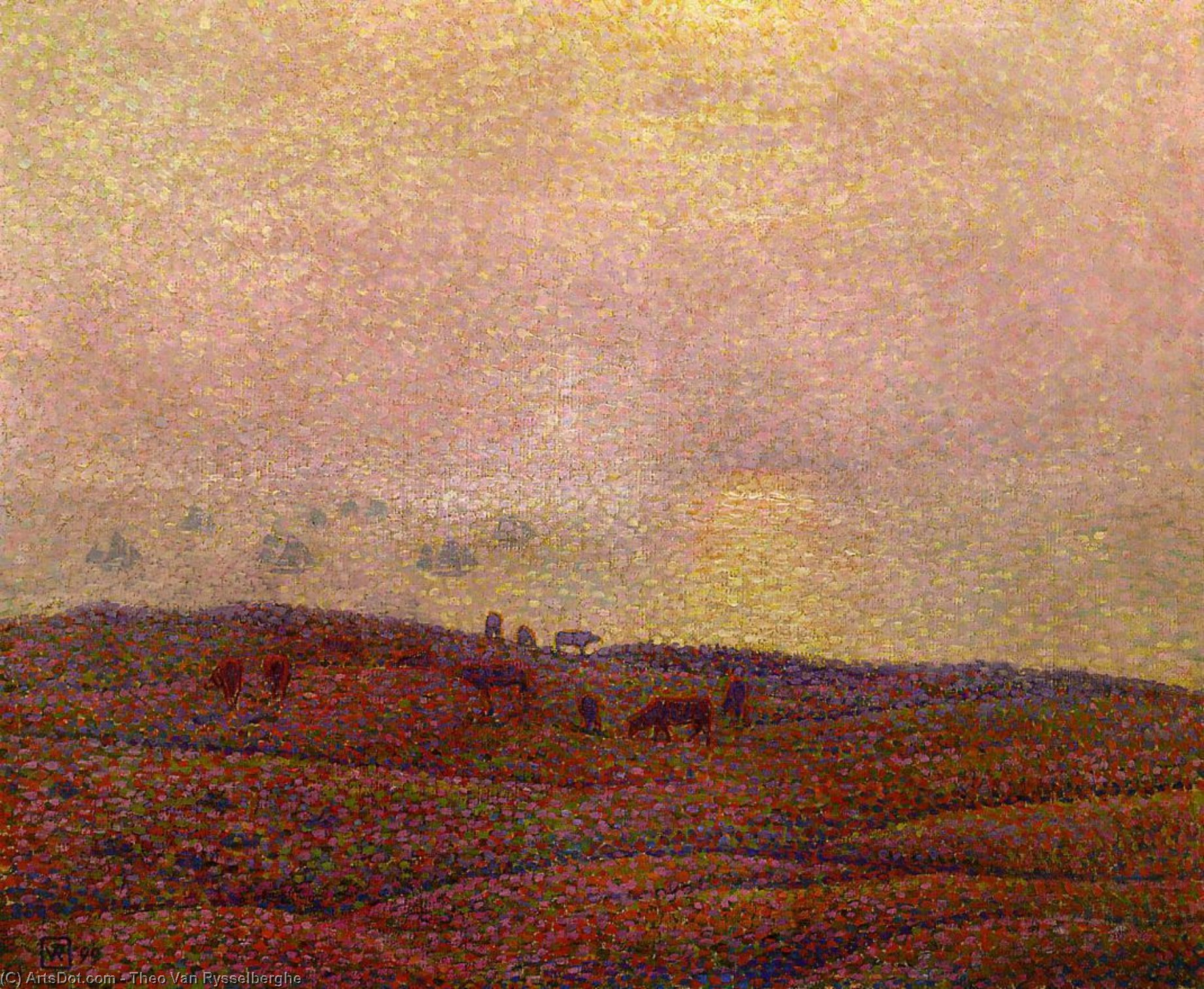 Cows in a Landscape, Oil On Canvas by Theo Van Rysselberghe (1862-1926, Belgium)