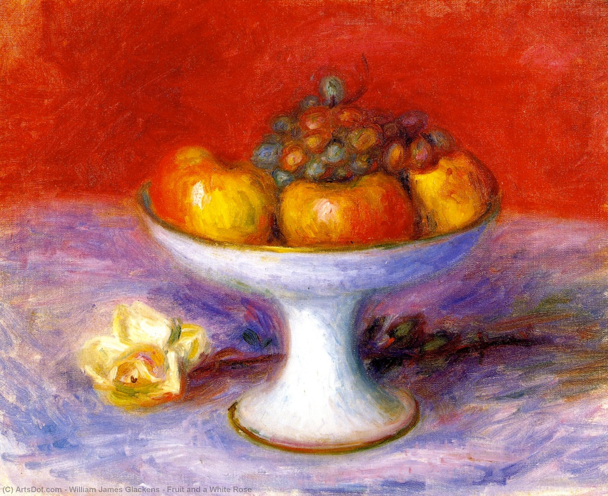 Order Art Reproductions | Fruit and a White Rose, 1930 by William James Glackens (1870-1938, United States) | ArtsDot.com