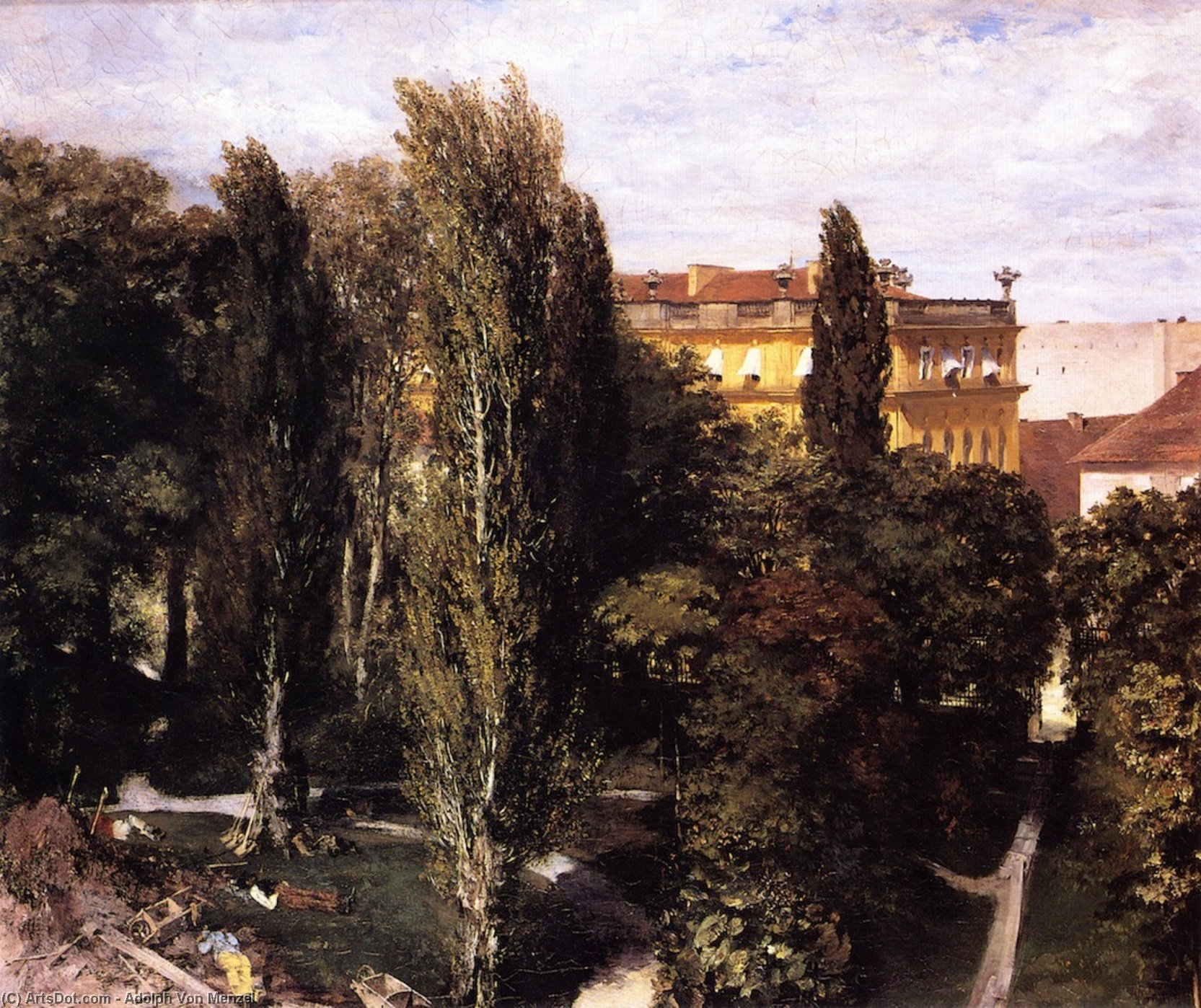 Garden of Prince Albert's Palace, Oil On Canvas by Adolph Von Menzel