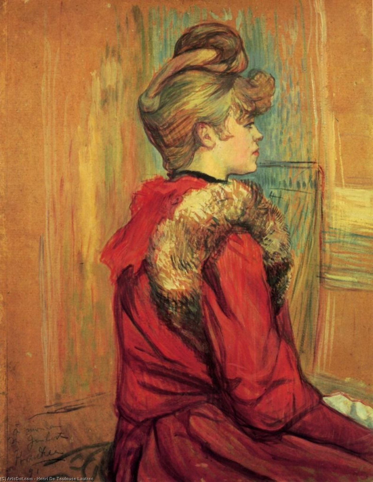 Girl in aa Fur, Mademoiselle Jeanne Fontaine, Oil On Panel by Henri De Toulouse Lautrec (1864-1901, France)