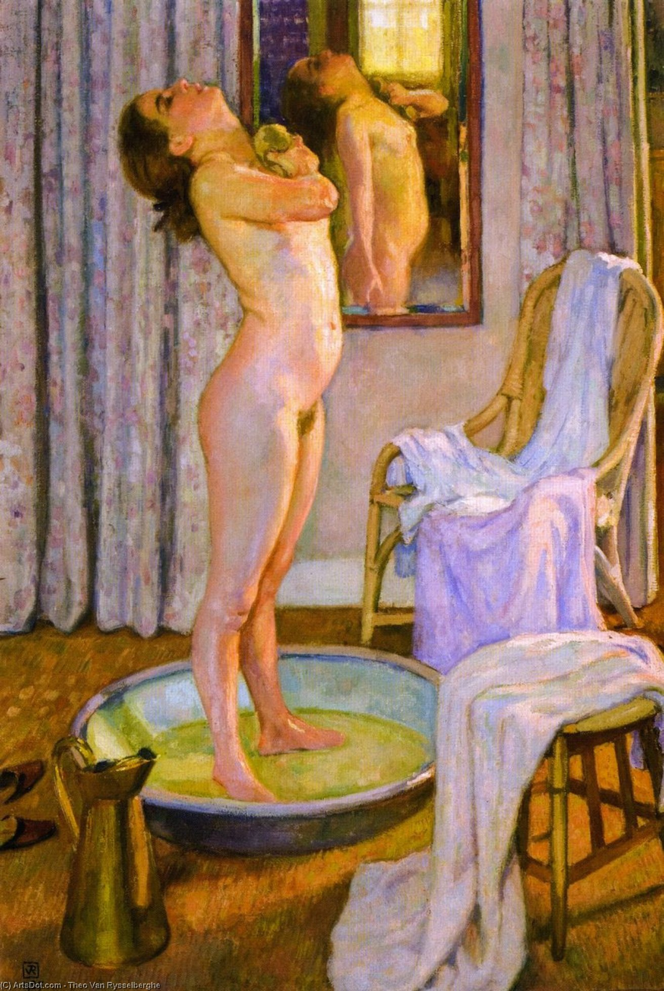 Girl in Bath (also known as Jeune ville au tub), Oil On Canvas by Theo Van Rysselberghe (1862-1926, Belgium)