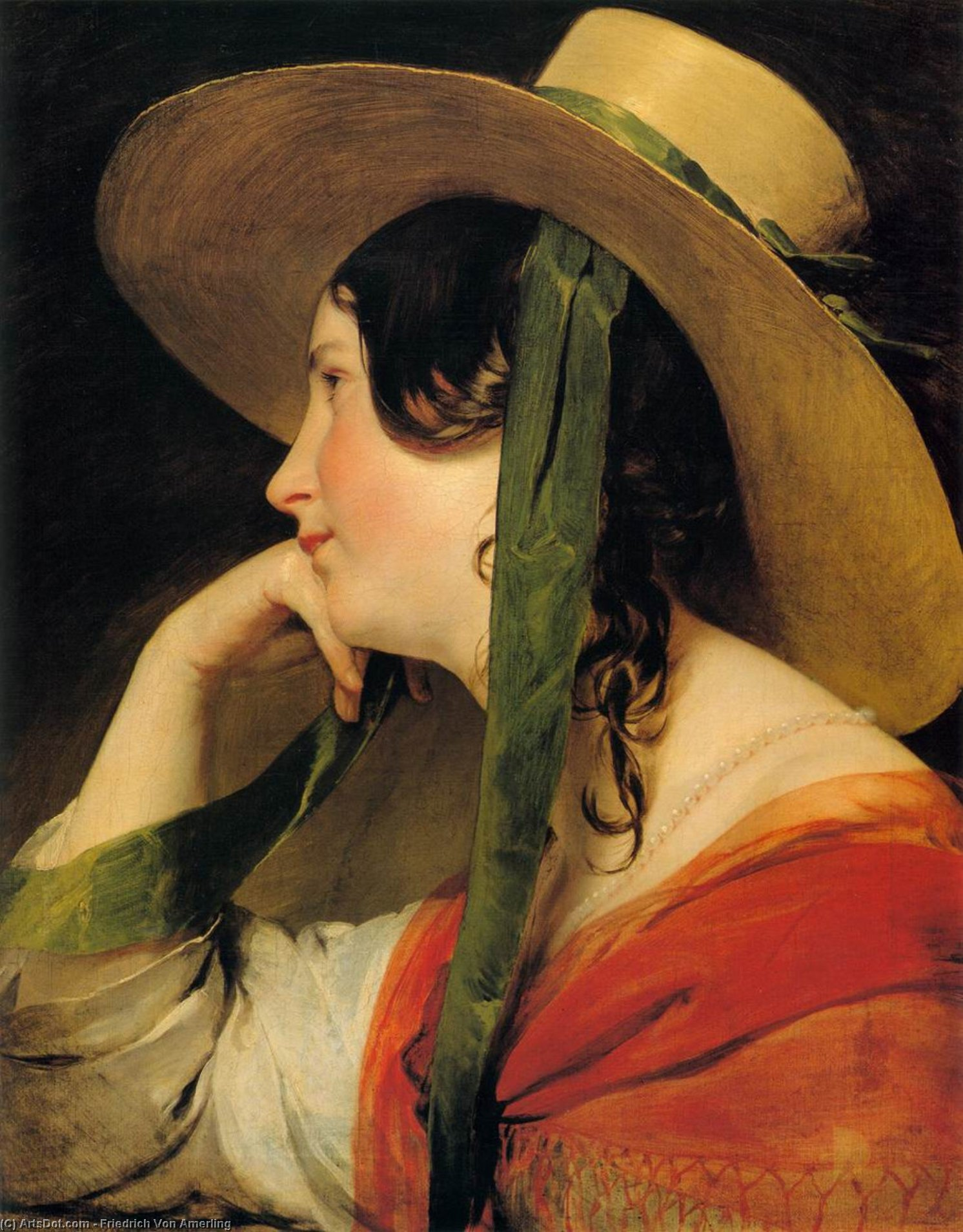 Girl in Yellow Hat, 1835 by Friedrich Ritter Von Amerling (1803-1887) | Museum Quality Reproductions | ArtsDot.com