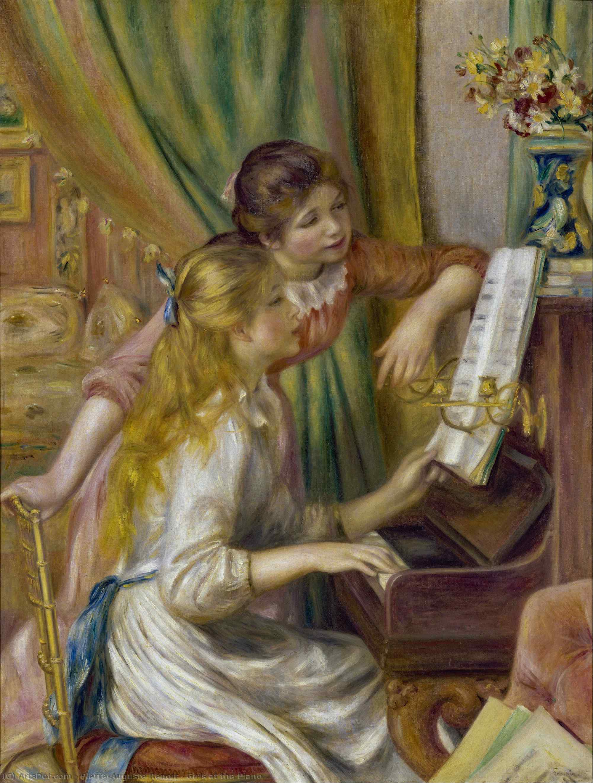Girls at the Piano, 1892 by Pierre-Auguste Renoir (1841-1919, France) | Paintings Reproductions Pierre-Auguste Renoir | ArtsDot.com
