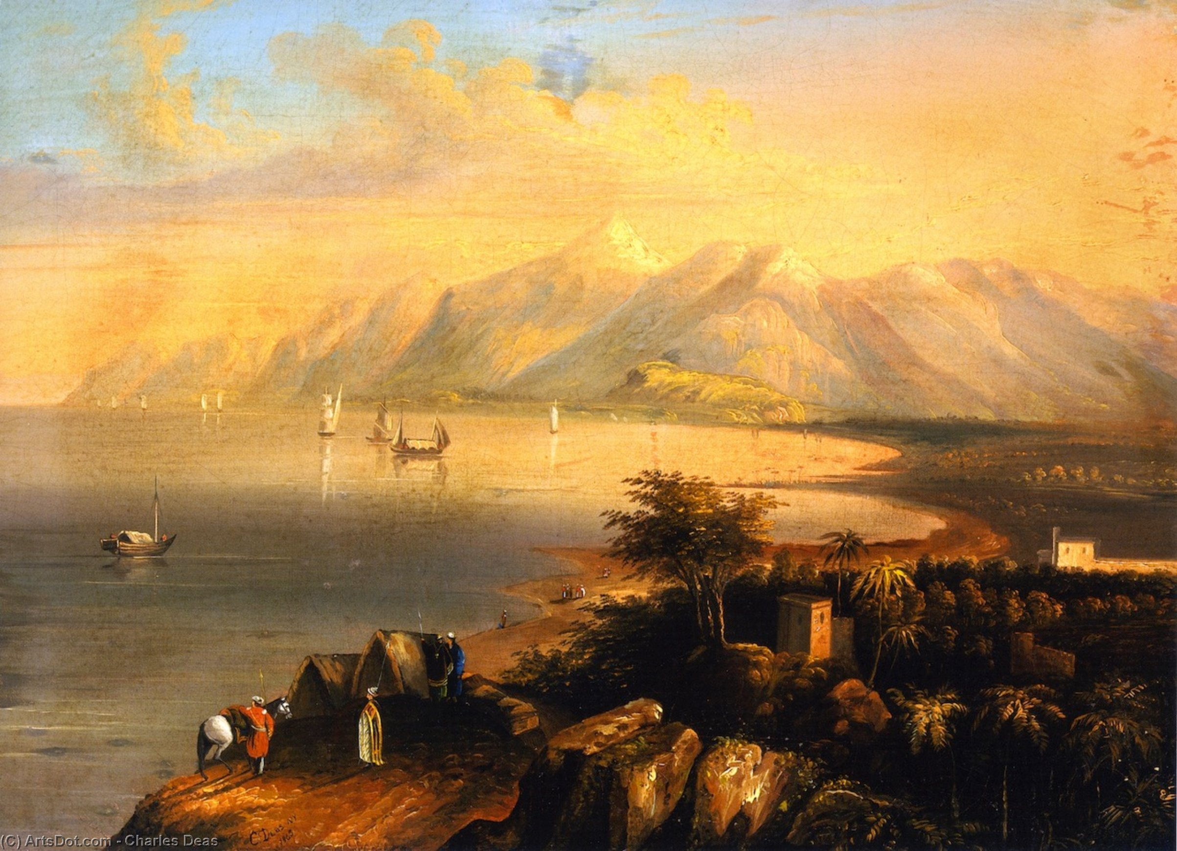 Harbor Scene, Painting by Charles Deas (1818-1867, United States)