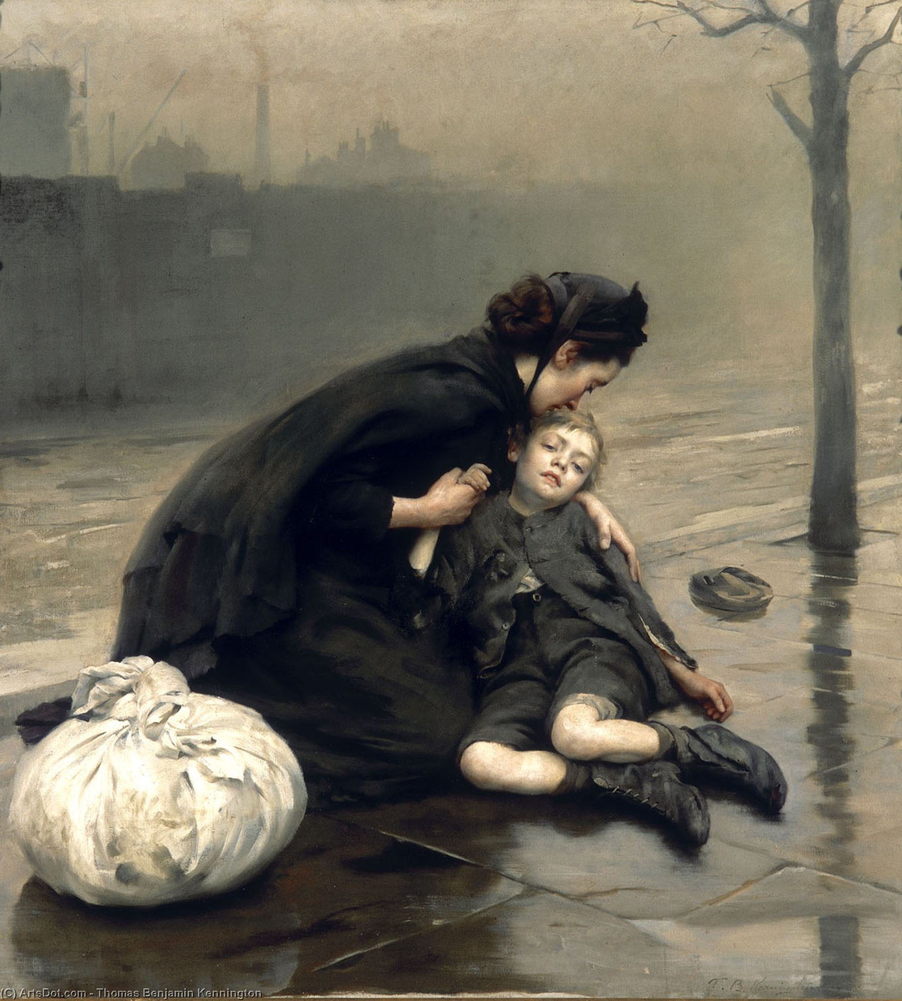 Homeless, Oil On Canvas by Thomas Benjamin Kennington (1856-1916, United Kingdom)