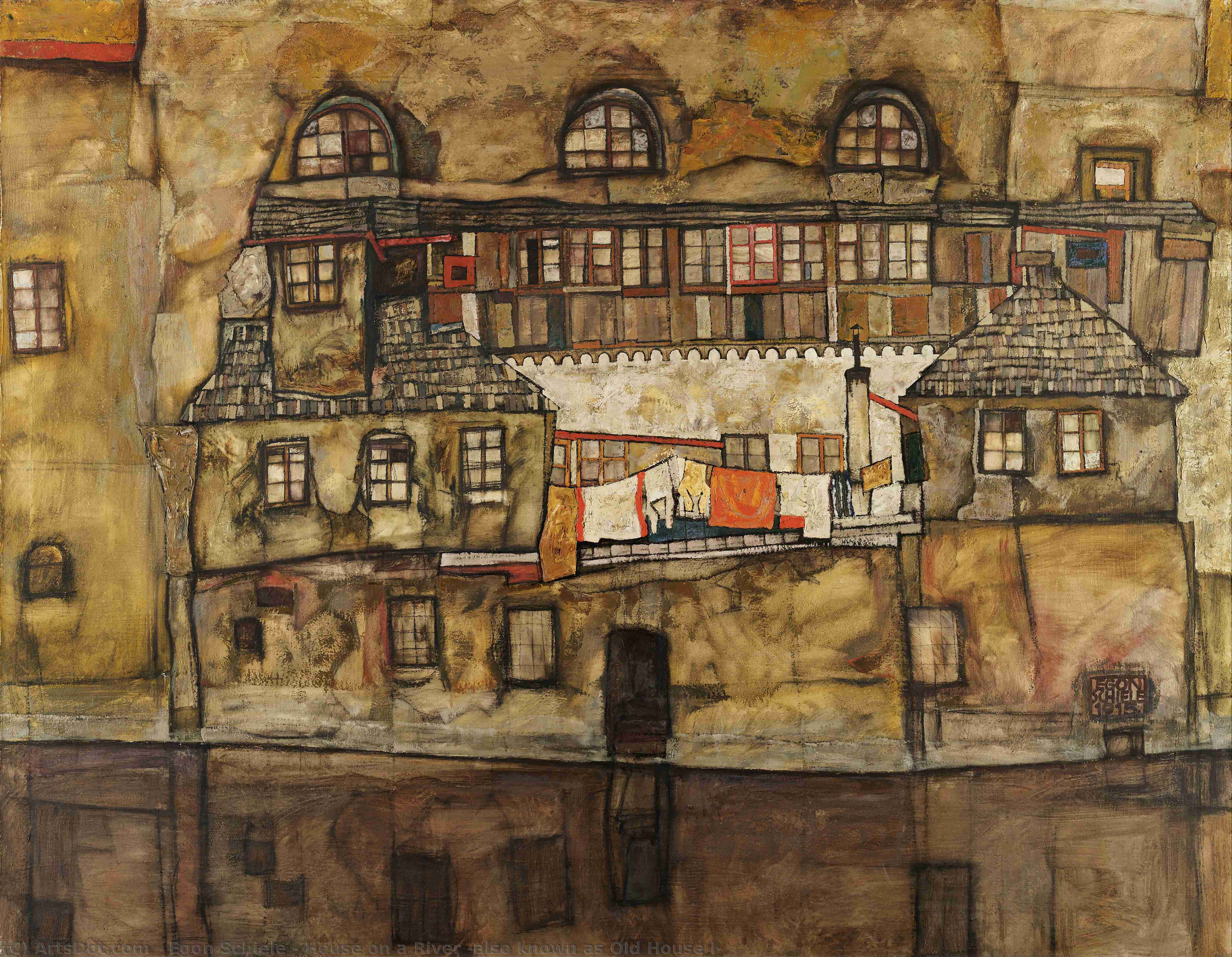 Order Oil Painting : House on a River (also known as Old House I), 1915 by Egon Schiele (1890-1918, Croatia) | ArtsDot.com