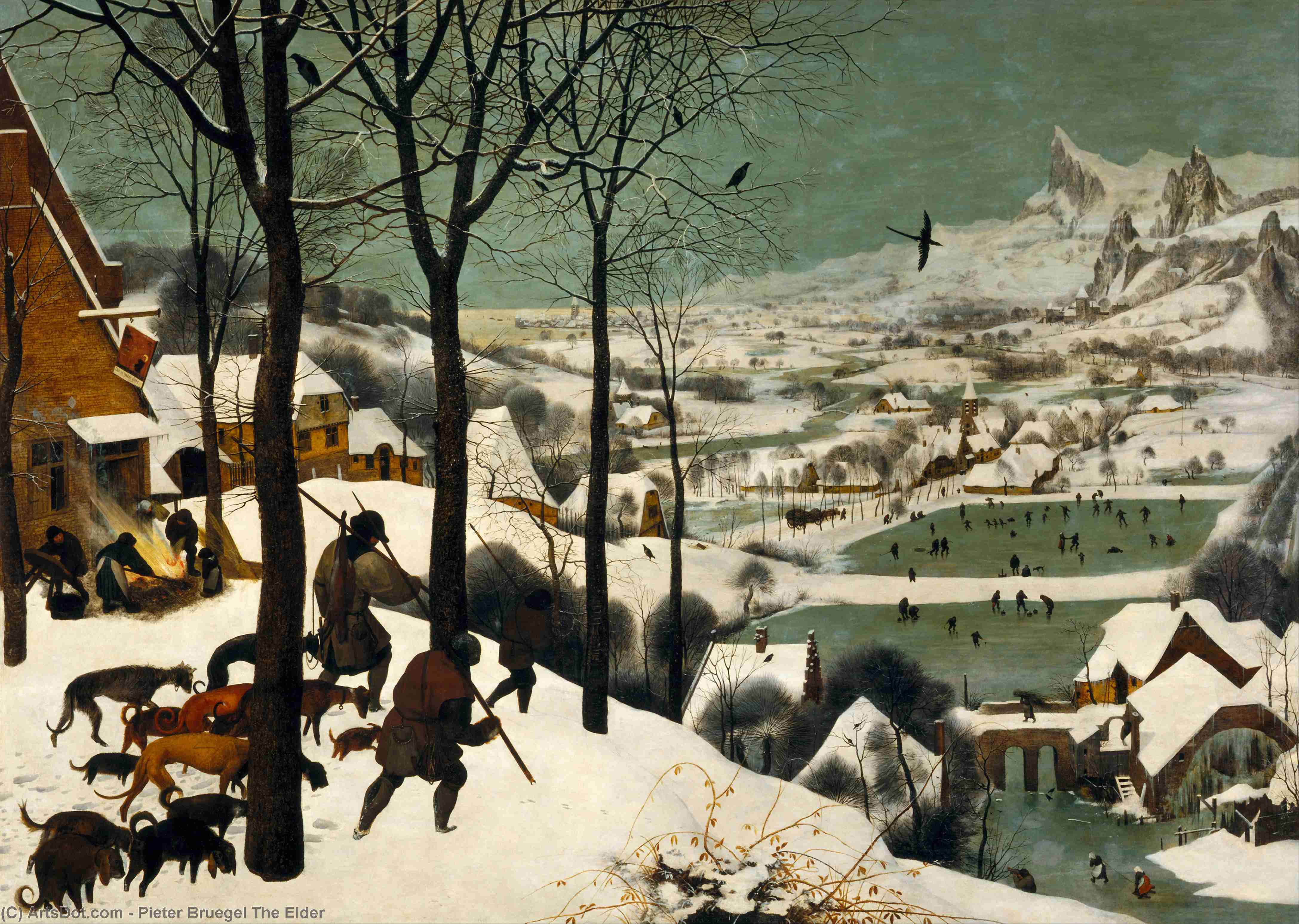 Order Art Reproduction : The Hunters in the Snow (Winter), 1565 by Pieter Bruegel The Elder (1525-1569, Belgium) | ArtsDot.com