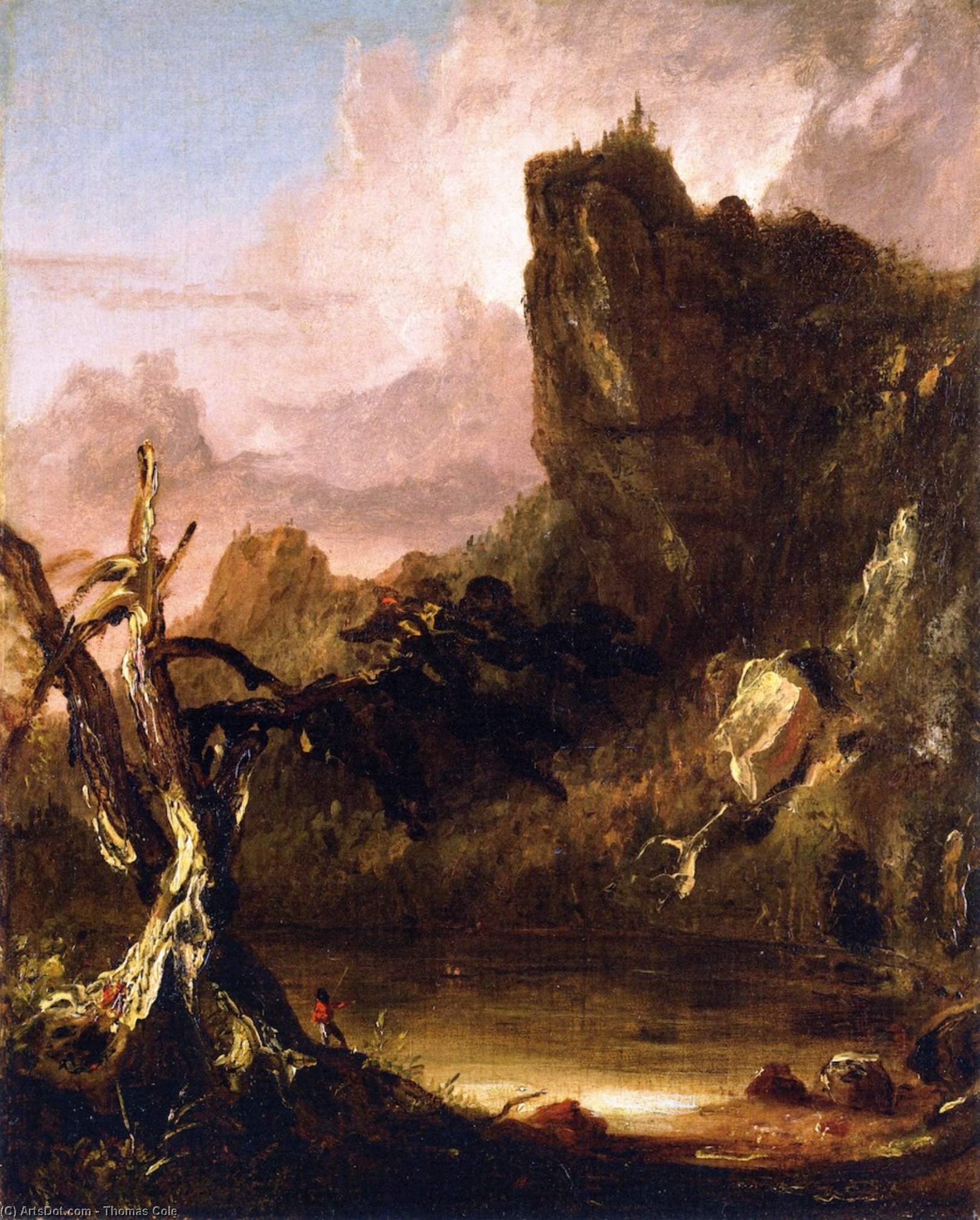 Imaginary Landscape with Towering Outcrop, Oil On Canvas by Thomas Cole (1801-1848, United Kingdom)