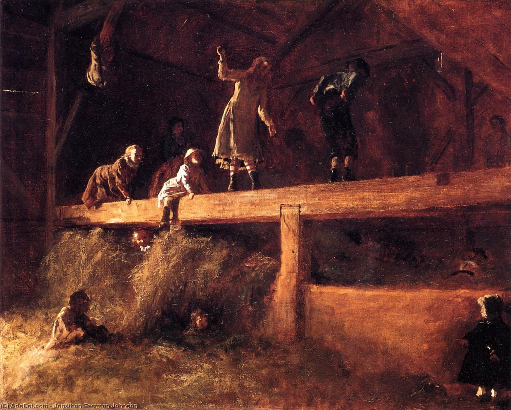 In the Hayloft, 1877 by Jonathan Eastman Johnson (1824-1906, United Kingdom) | Art Reproduction | ArtsDot.com