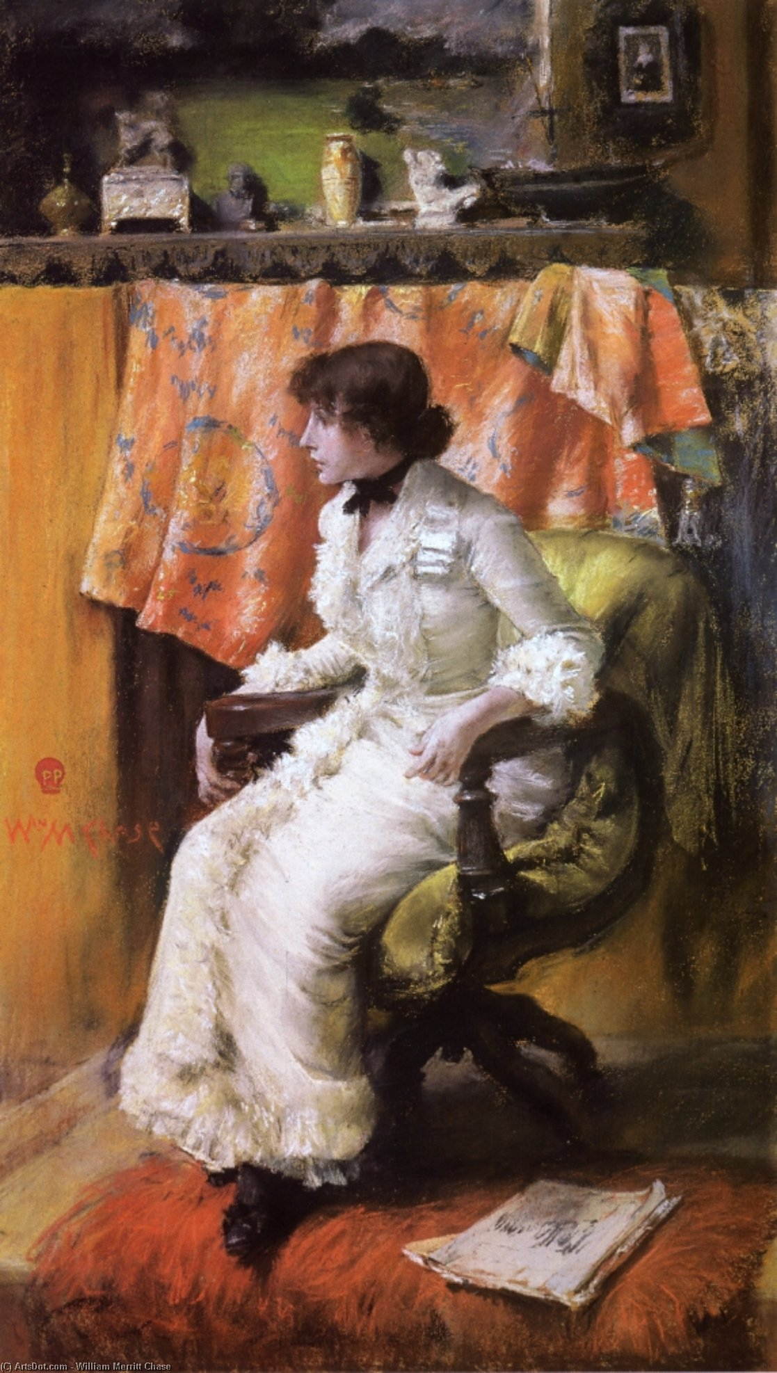 In the Studio (also known as Virginia Gerson), Drawing by William Merritt Chase (1849-1916, United States)