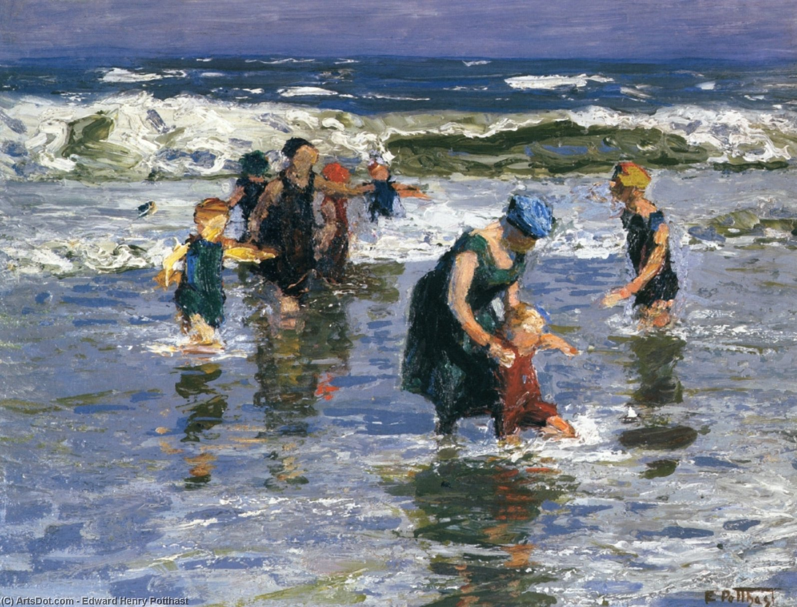 In the Surf, 1914 by Edward Henry Potthast (1857-1927, United States) | Museum Art Reproductions Edward Henry Potthast | ArtsDot.com