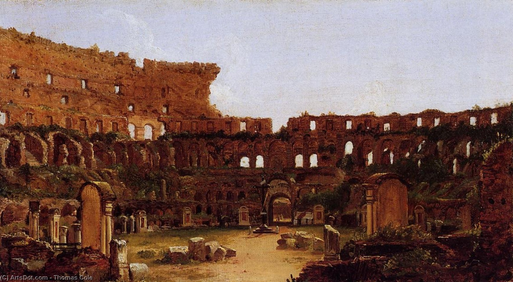 Interior of the Colosseum, Rome, Oil On Canvas by Thomas Cole (1801-1848, England)