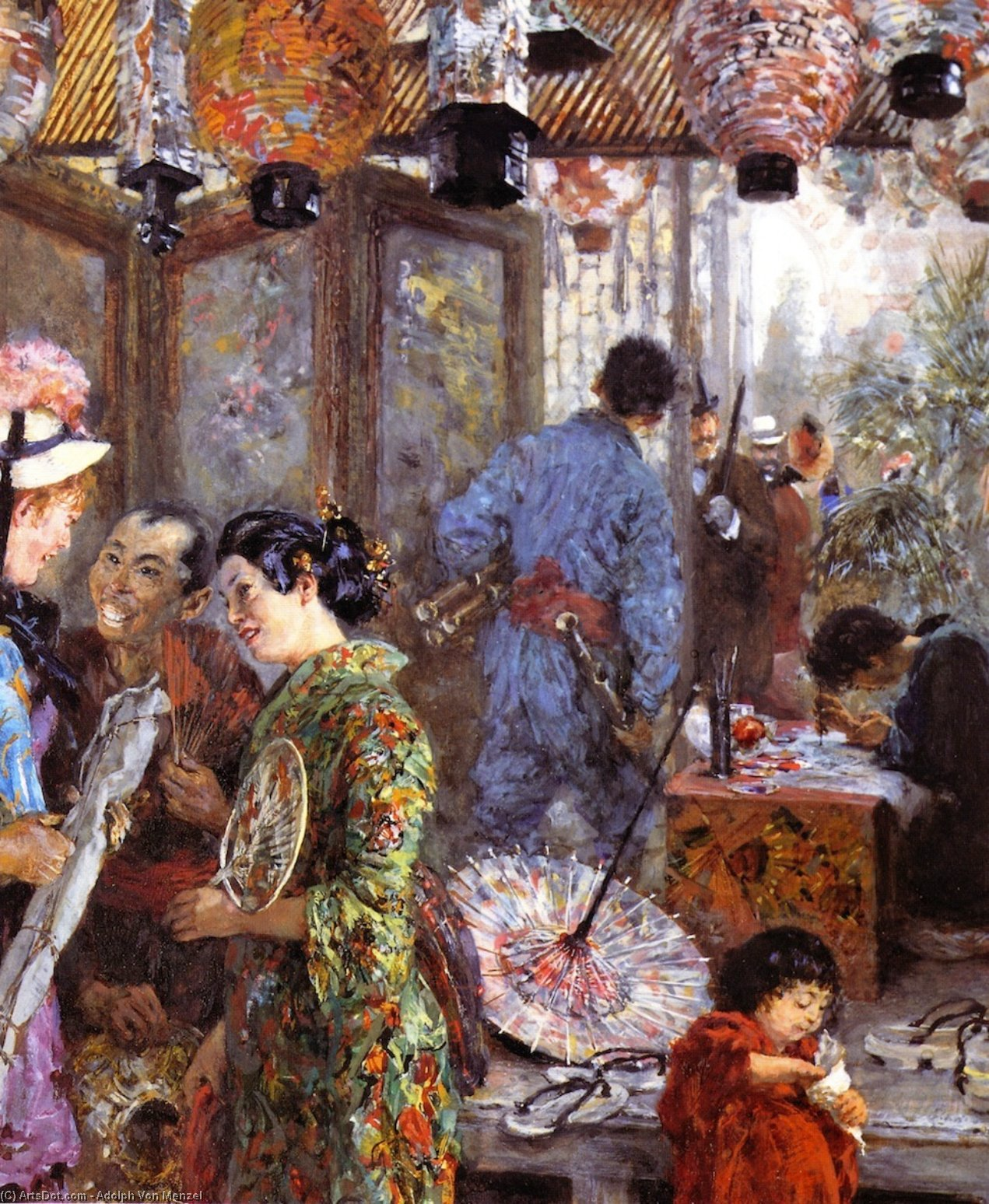 Japanese Painter (also known as At the Japanese Exhibition), Frescoes by Adolph Menzel (1815-1905, Poland)