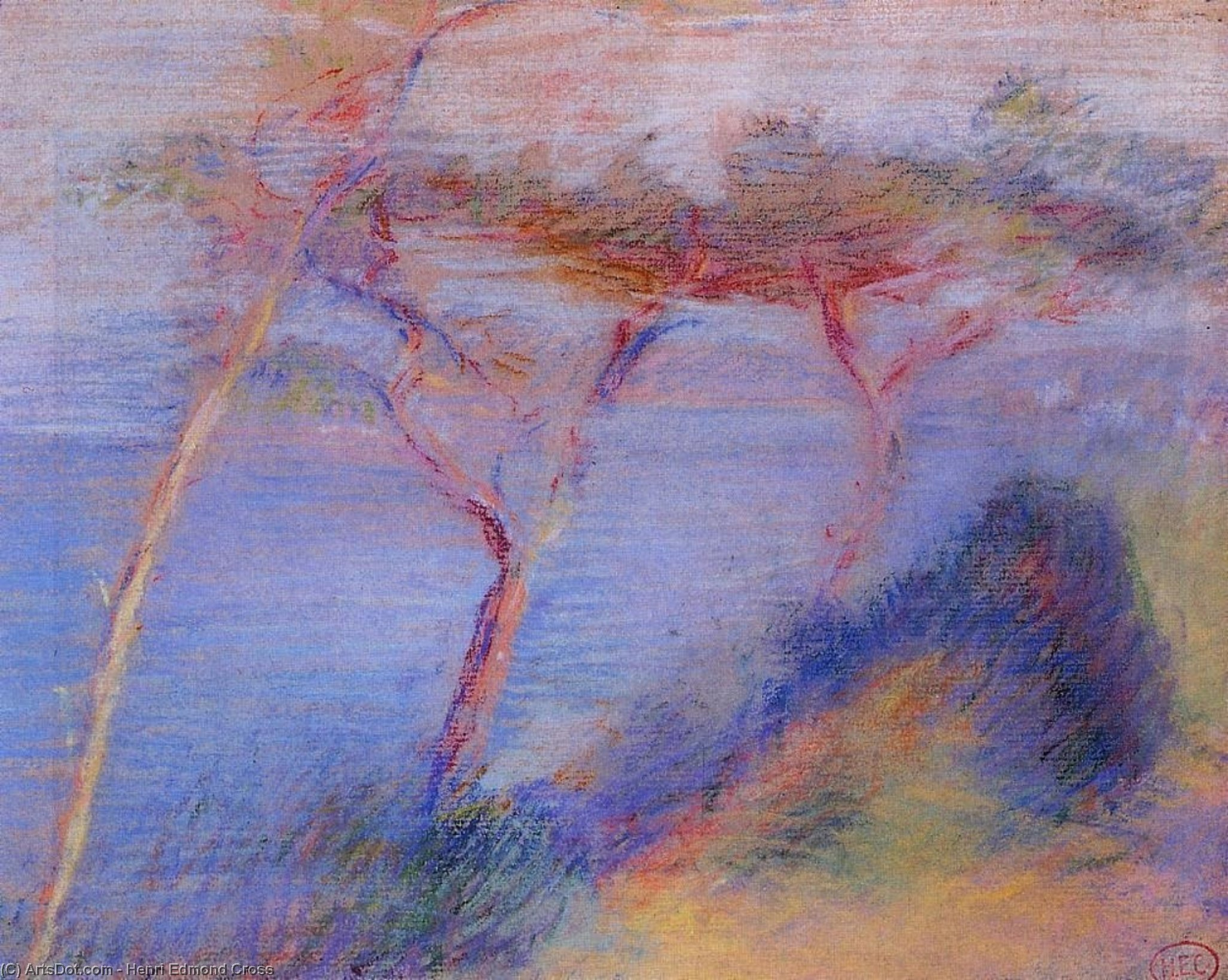 Landscape, Drawing by Henri Edmond Cross (1856-1910, France)