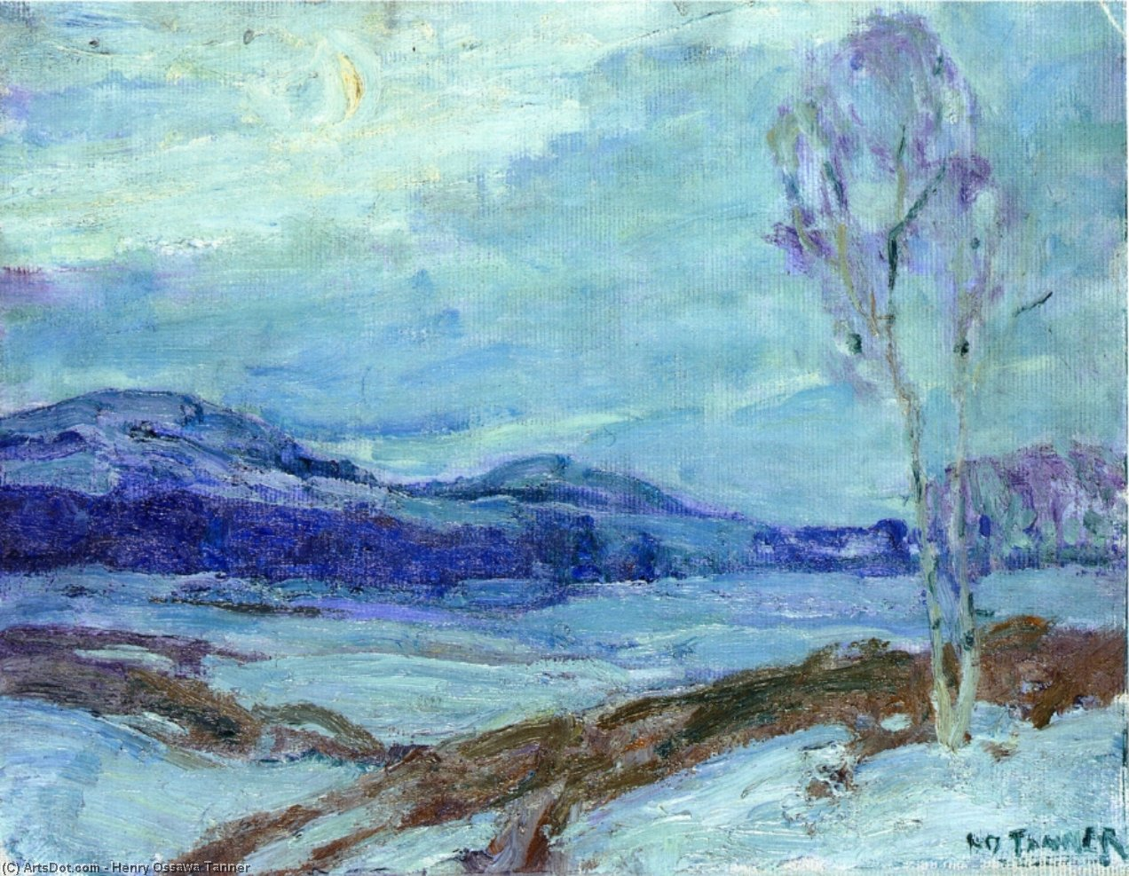 Landscape in Moonlight, 1913 by Henry Ossawa Tanner (1859-1937, United States) | Painting Copy | ArtsDot.com