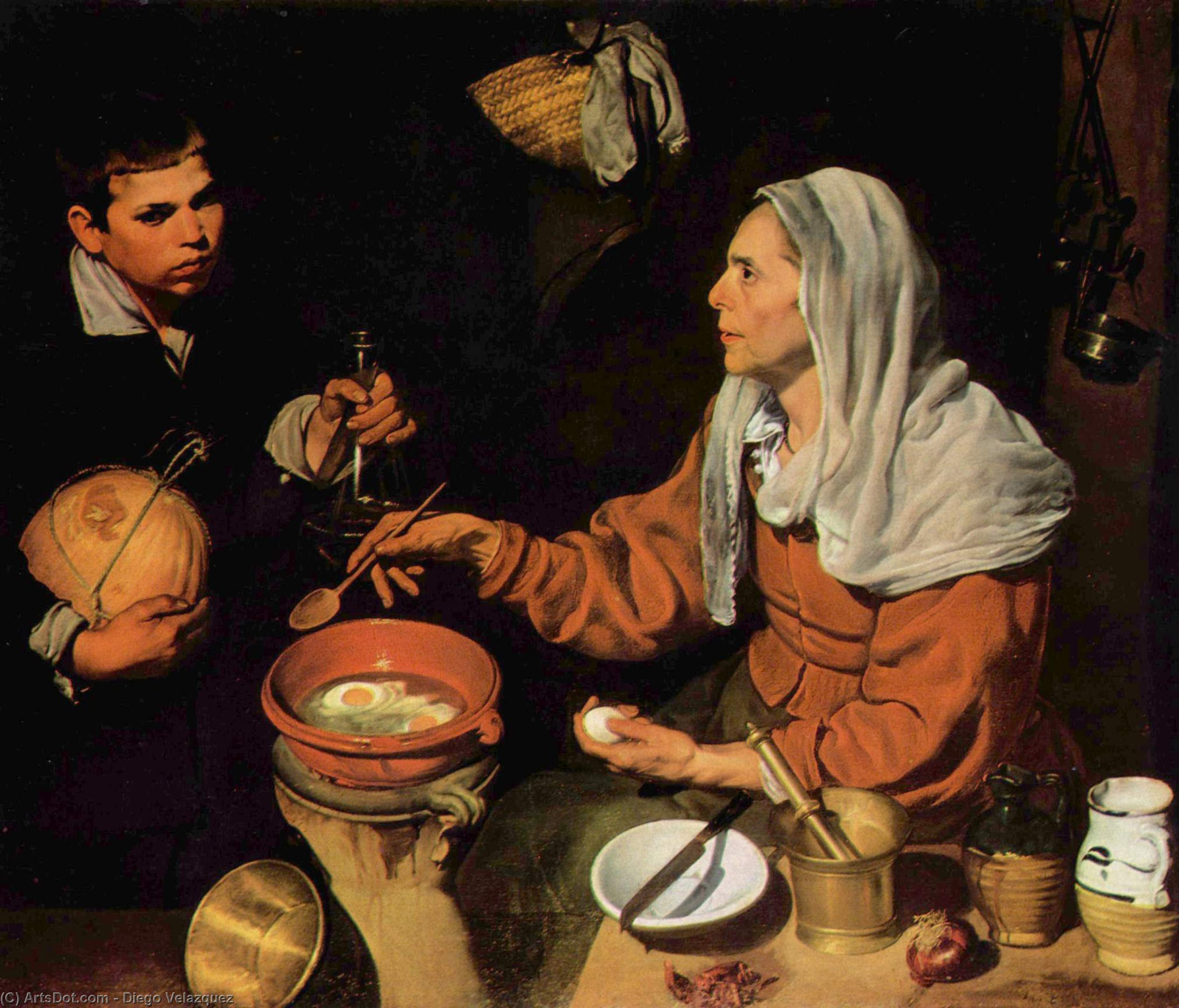 An Old Woman Cooking Eggs, Oil On Canvas by Diego Velazquez (1599-1660, Spain)