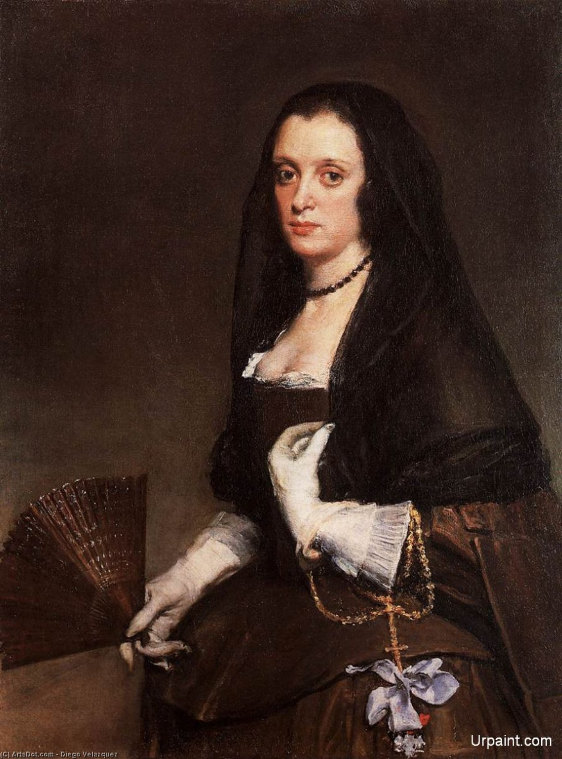The Lady with a Fan, Oil On Canvas by Diego Velazquez  (order Fine Art Poster on canvas Diego Velazquez)