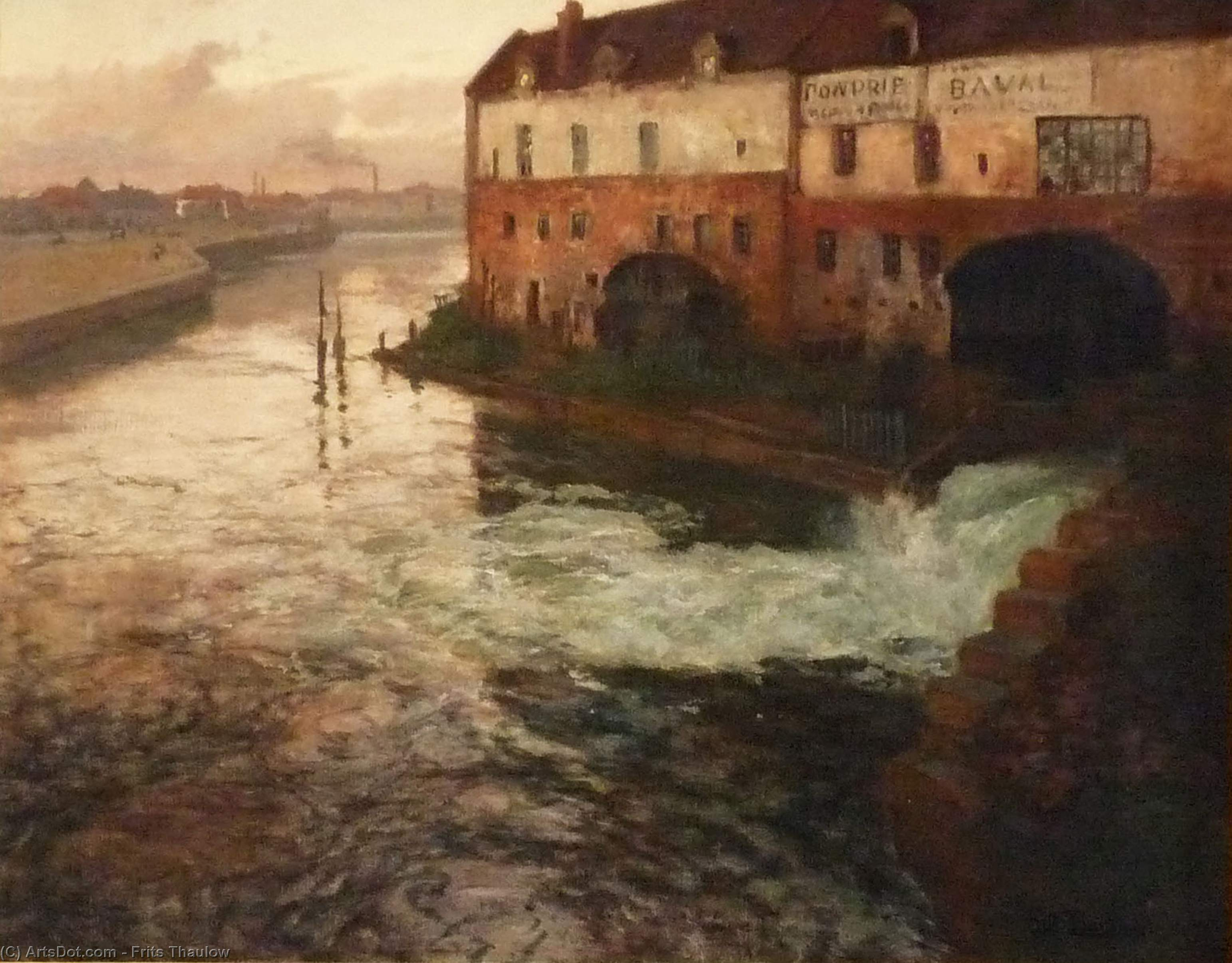 Old factory on the Somme (Evening), 1906 by Frits Thaulow (1847-1906, Norway)