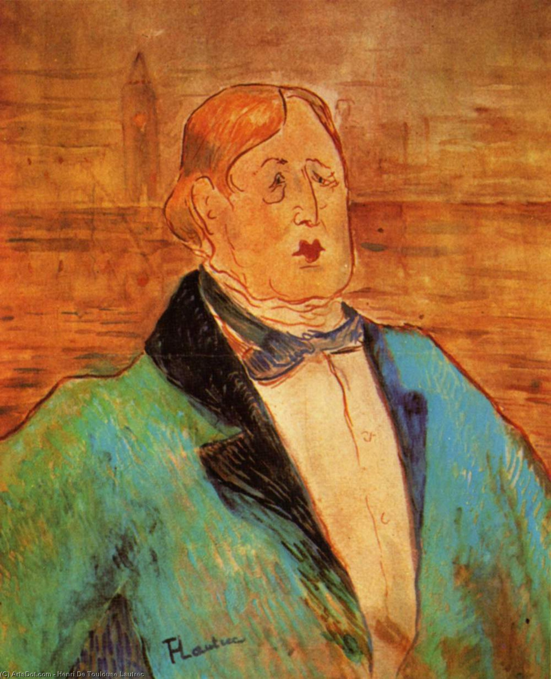 Portrait of Oscar Wilde, 1895 by Henri De Toulouse Lautrec (1864-1901, France)