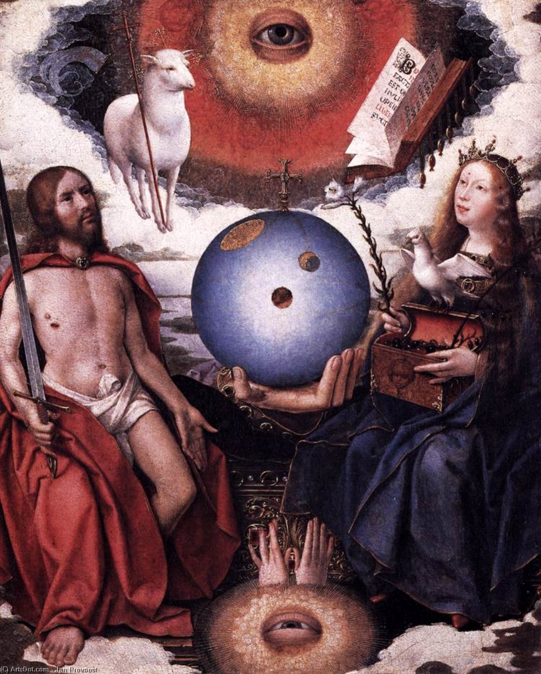 Allegory of Christianity, Oil by Jan Provoost (1462-1529, Belgium)
