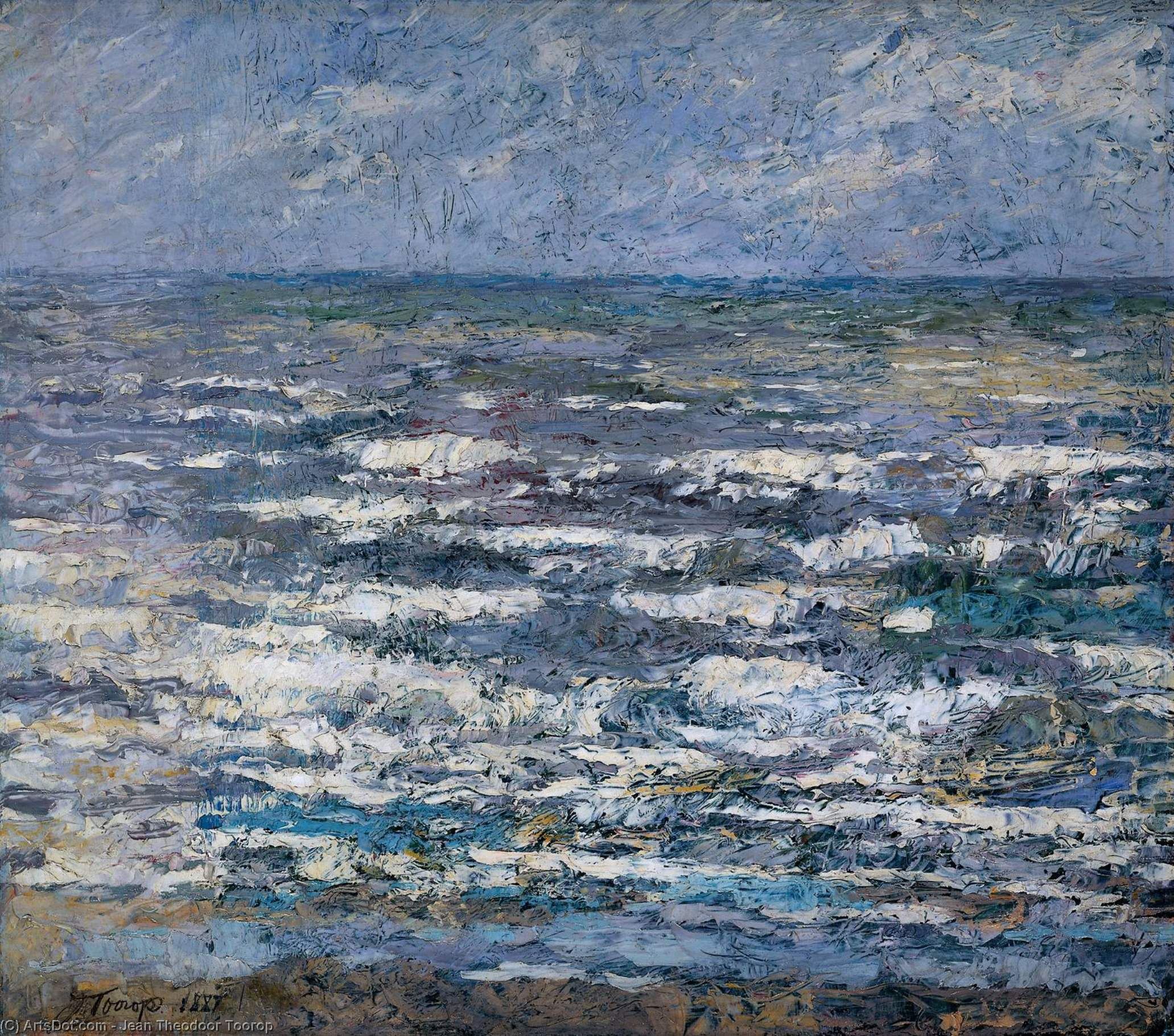 The Sea at Katwijk, Oil On Canvas by Jean Theodoor Toorop (1858-1928, Indonesia)