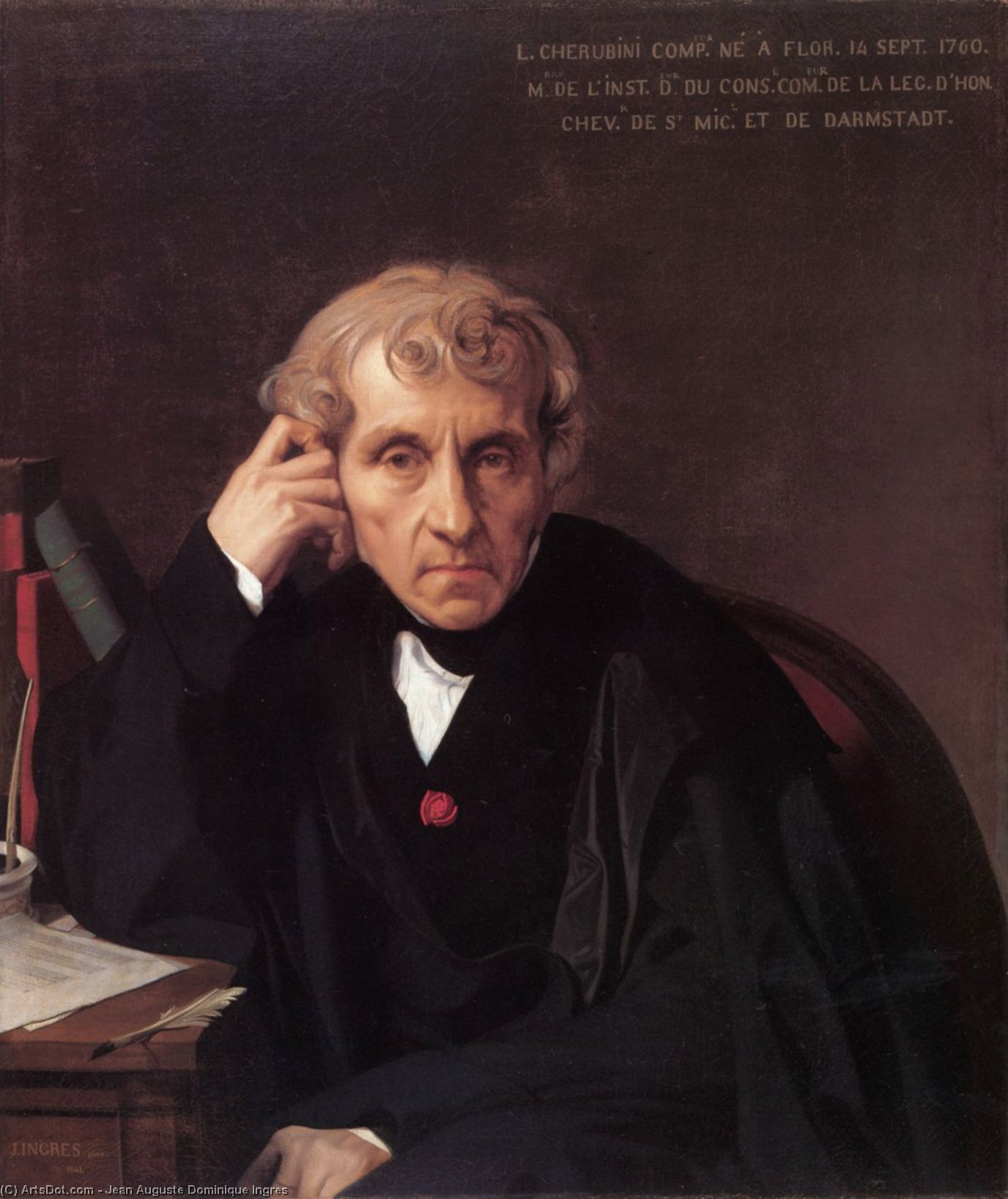 Luigi Cherubini, 1841 by Jean Auguste Dominique Ingres (1780-1867, France) | Museum Art Reproductions Jean Auguste Dominique Ingres | ArtsDot.com