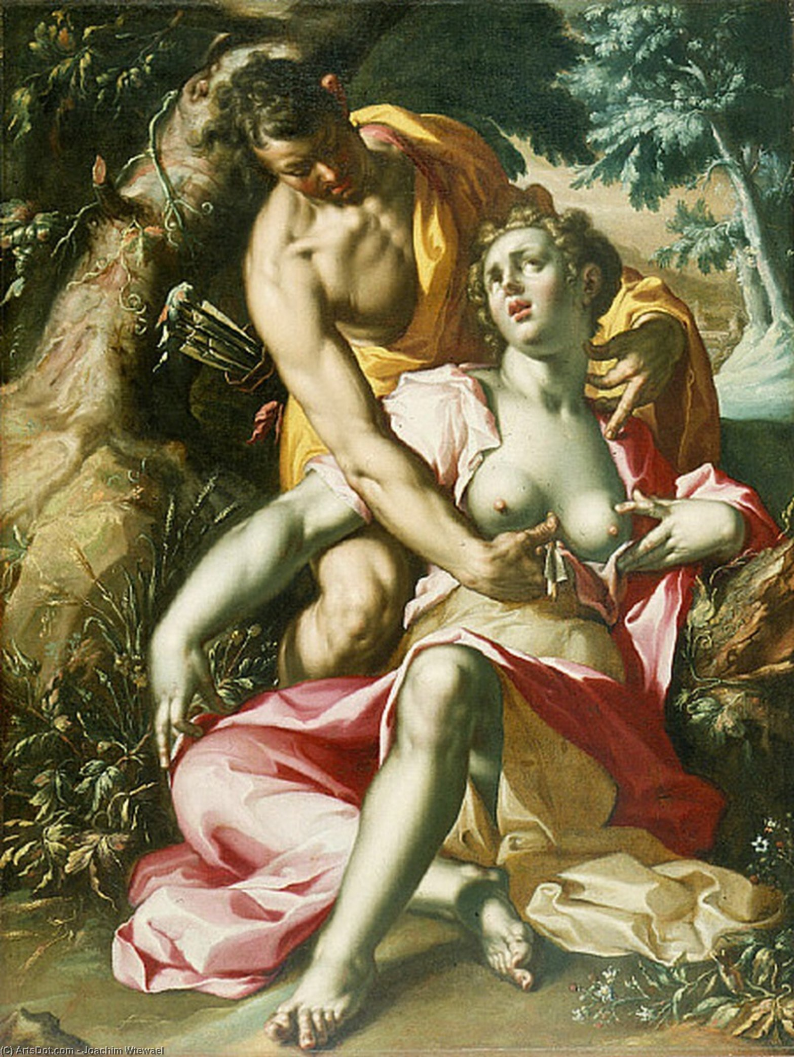 Cephalus and Procris (The Death of Procris), Oil On Canvas by Joachim Wtewael (1566-1638, Netherlands)