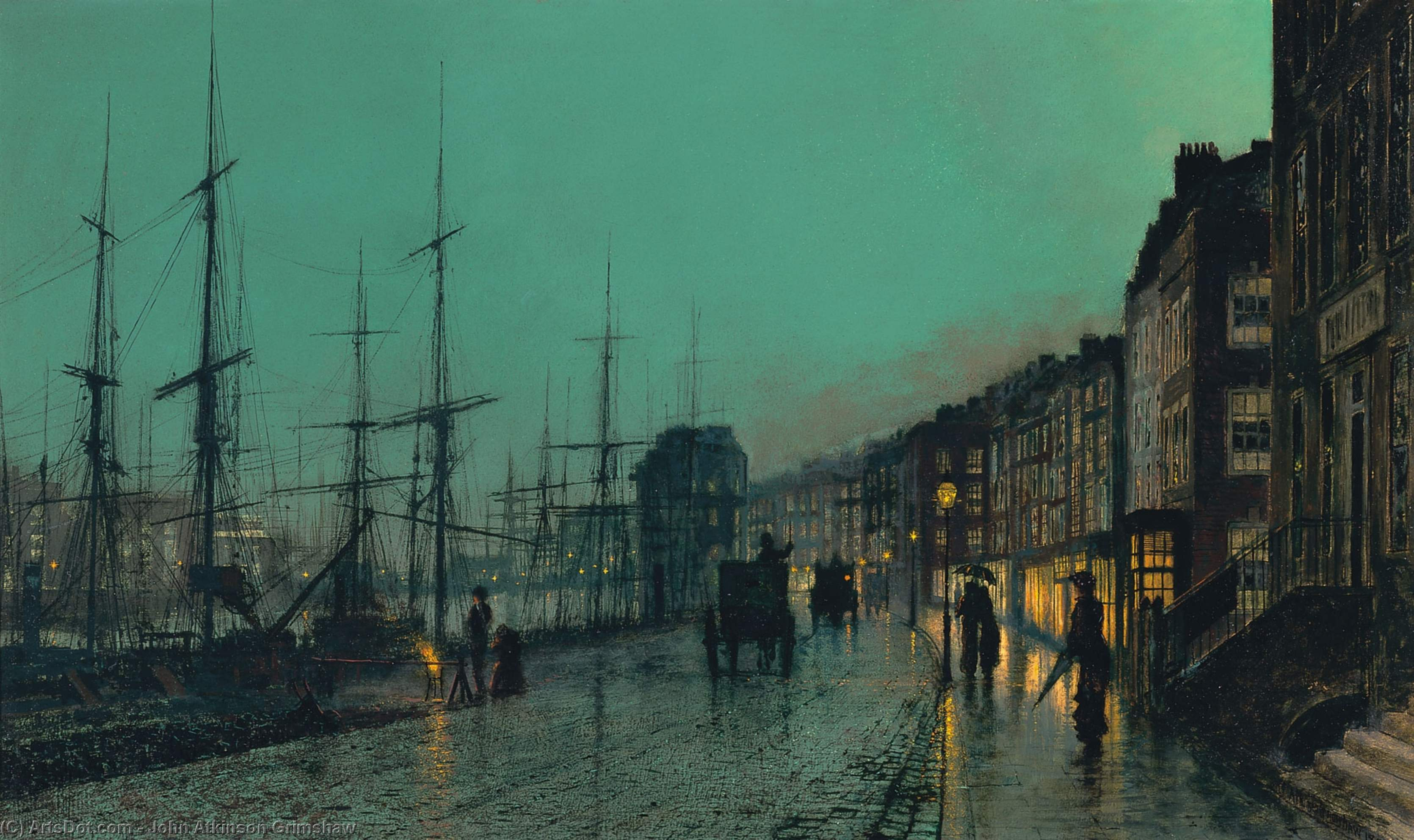 Shipping on the Clyde by John Atkinson Grimshaw (1836-1893, United Kingdom)