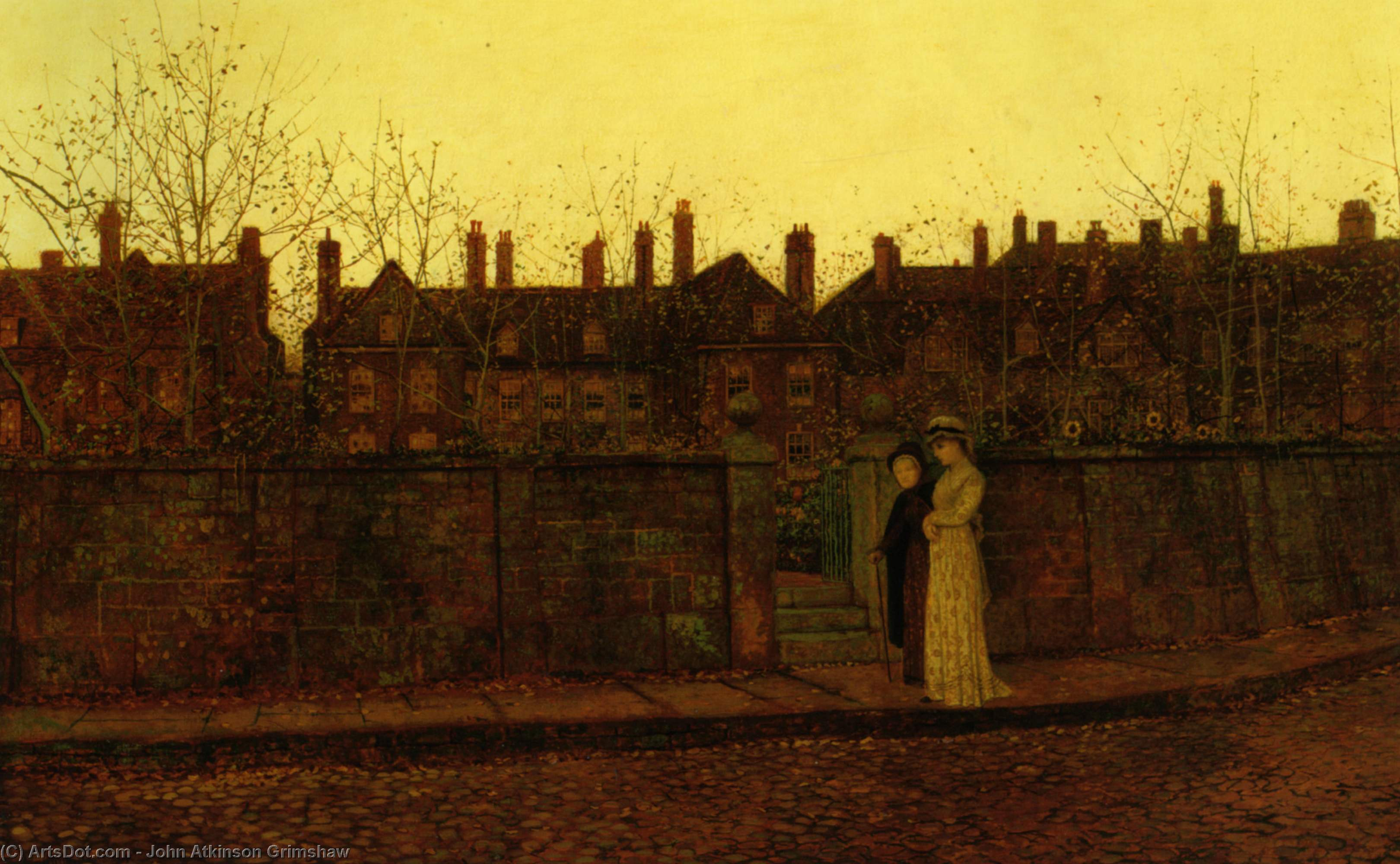 In the Golden Gloaming, Oil On Canvas by John Atkinson Grimshaw (1836-1893, United Kingdom)
