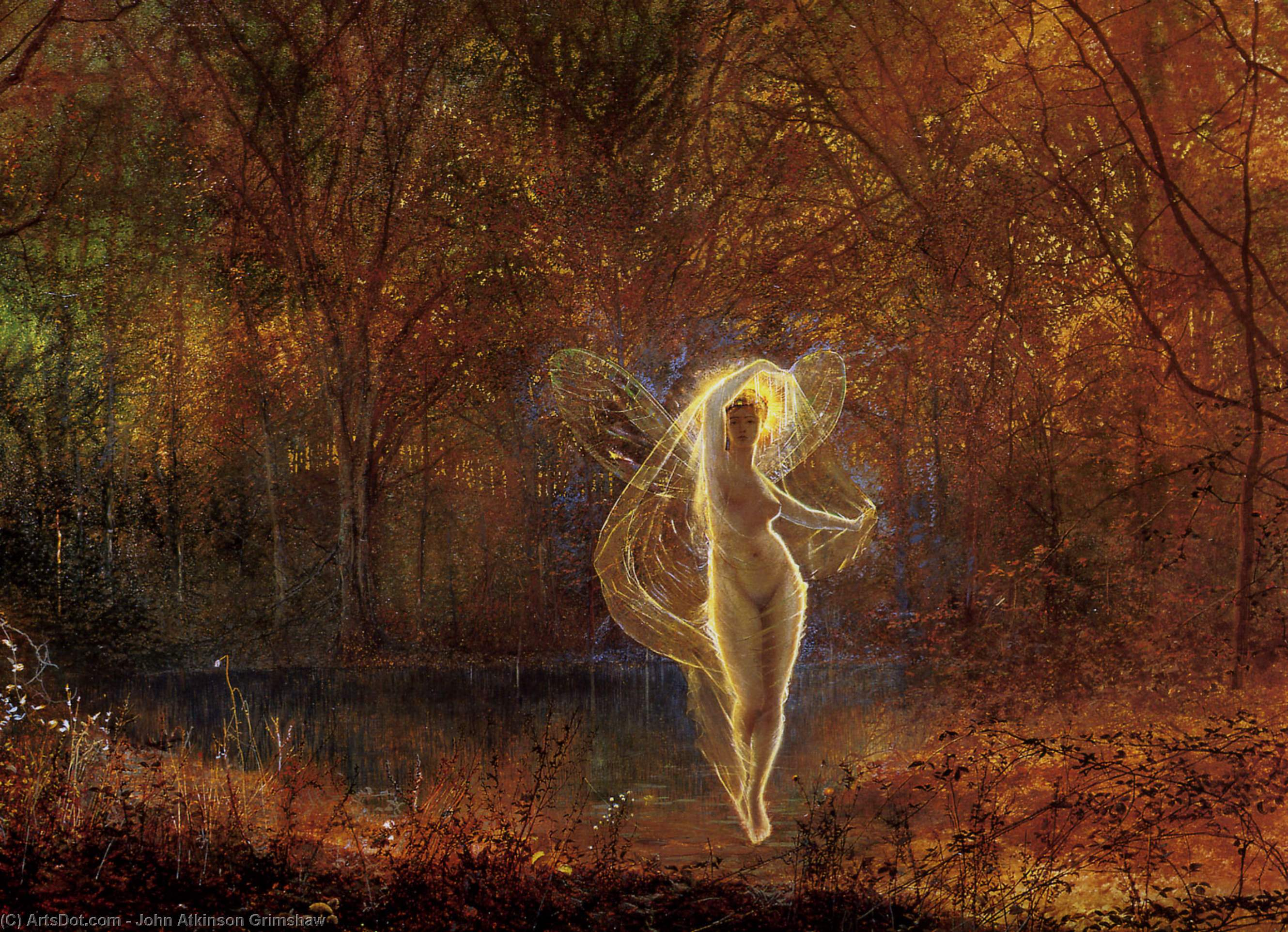 Dame Autumn hath a mournful face, Oil On Canvas by John Atkinson Grimshaw (1836-1893, United Kingdom)