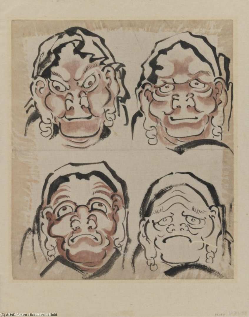 Sketch of Four Faces by Katsushika Hokusai (1760-1849, Japan) | Museum Art Reproductions | ArtsDot.com