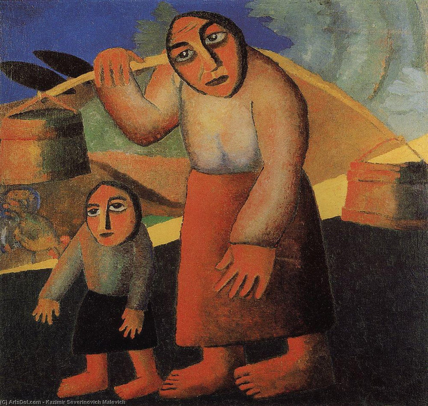 Peasant Woman with Buckets and a Child, Oil On Canvas by Kazimir Severinovich Malevich (1878-1935, Ukraine)