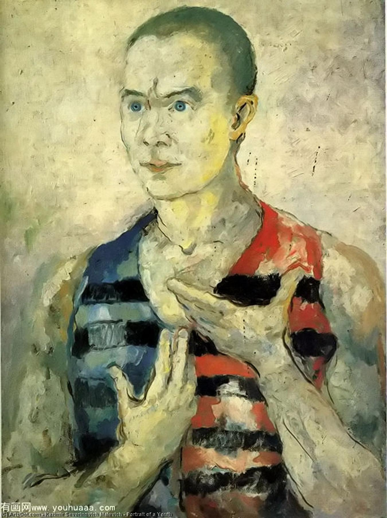 Portrait of a Youth, 1933 by Kazimir Severinovich Malevich (1879-1935, Ukraine) | Art Reproduction | ArtsDot.com