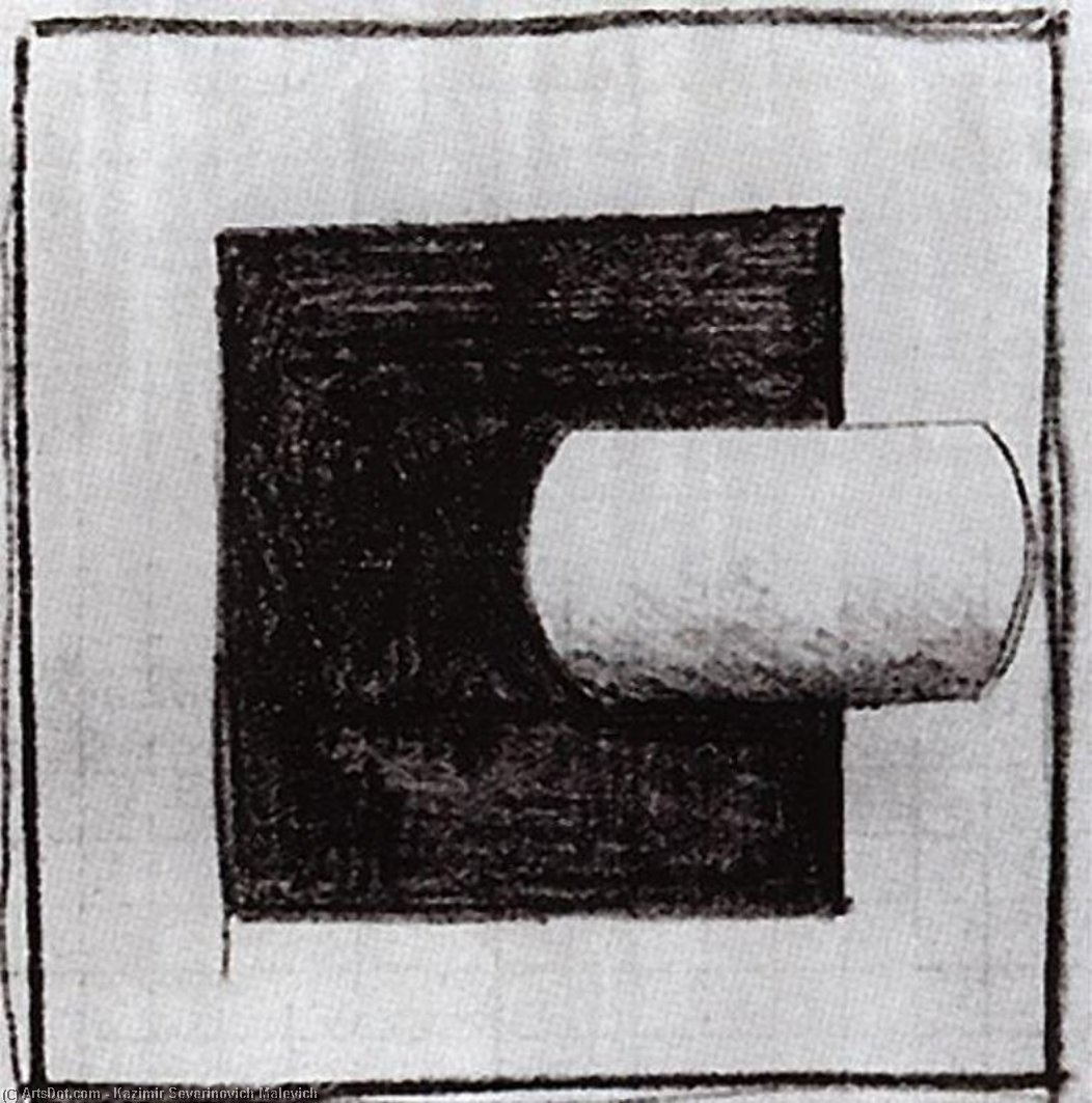 Black square and a white tube-shaped by Kazimir Severinovich Malevich (1878-1935, Ukraine)