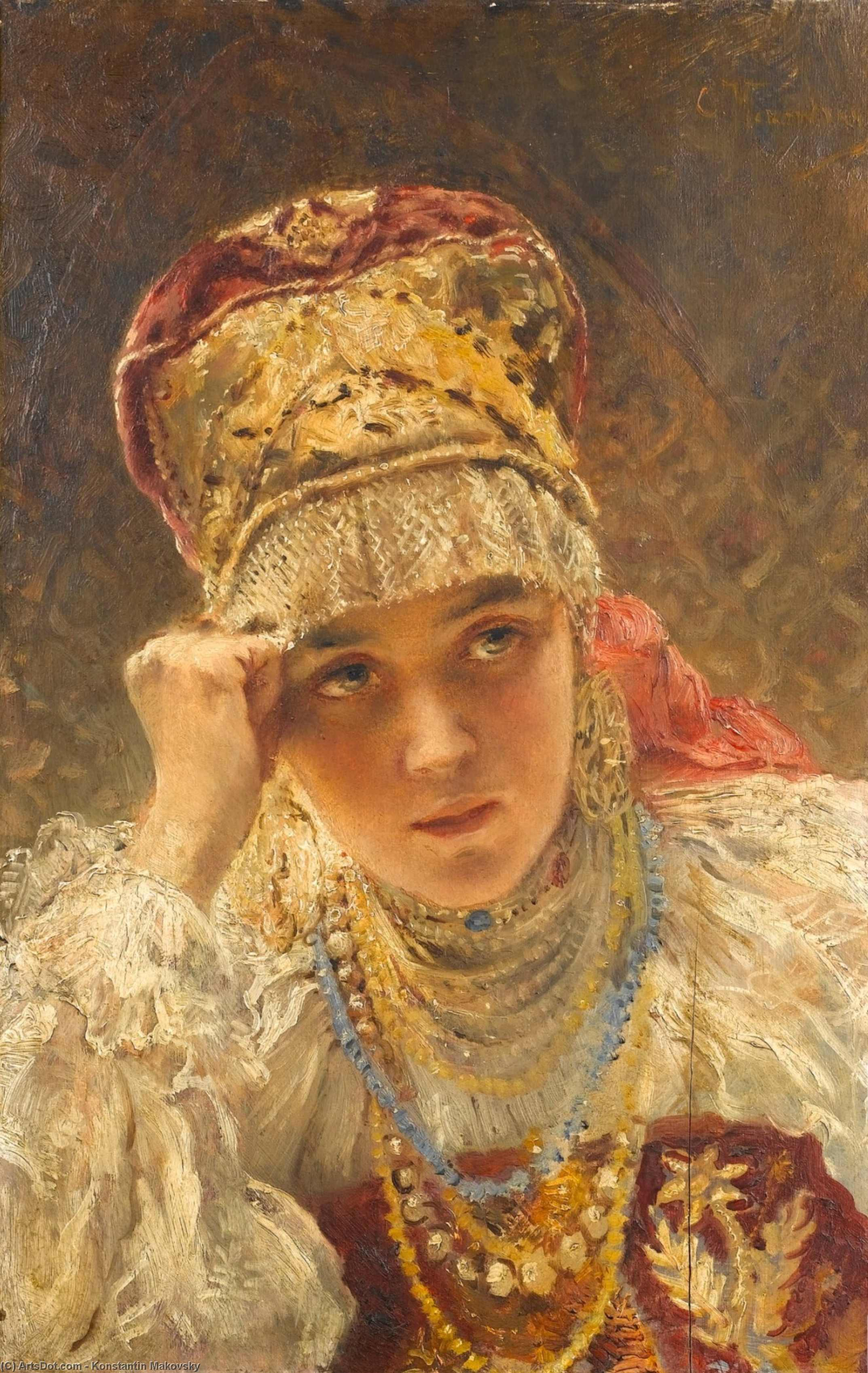 A Young Boyarynia, Oil On Panel by Konstantin Yegorovich Makovsky (1839-1915, Russia)